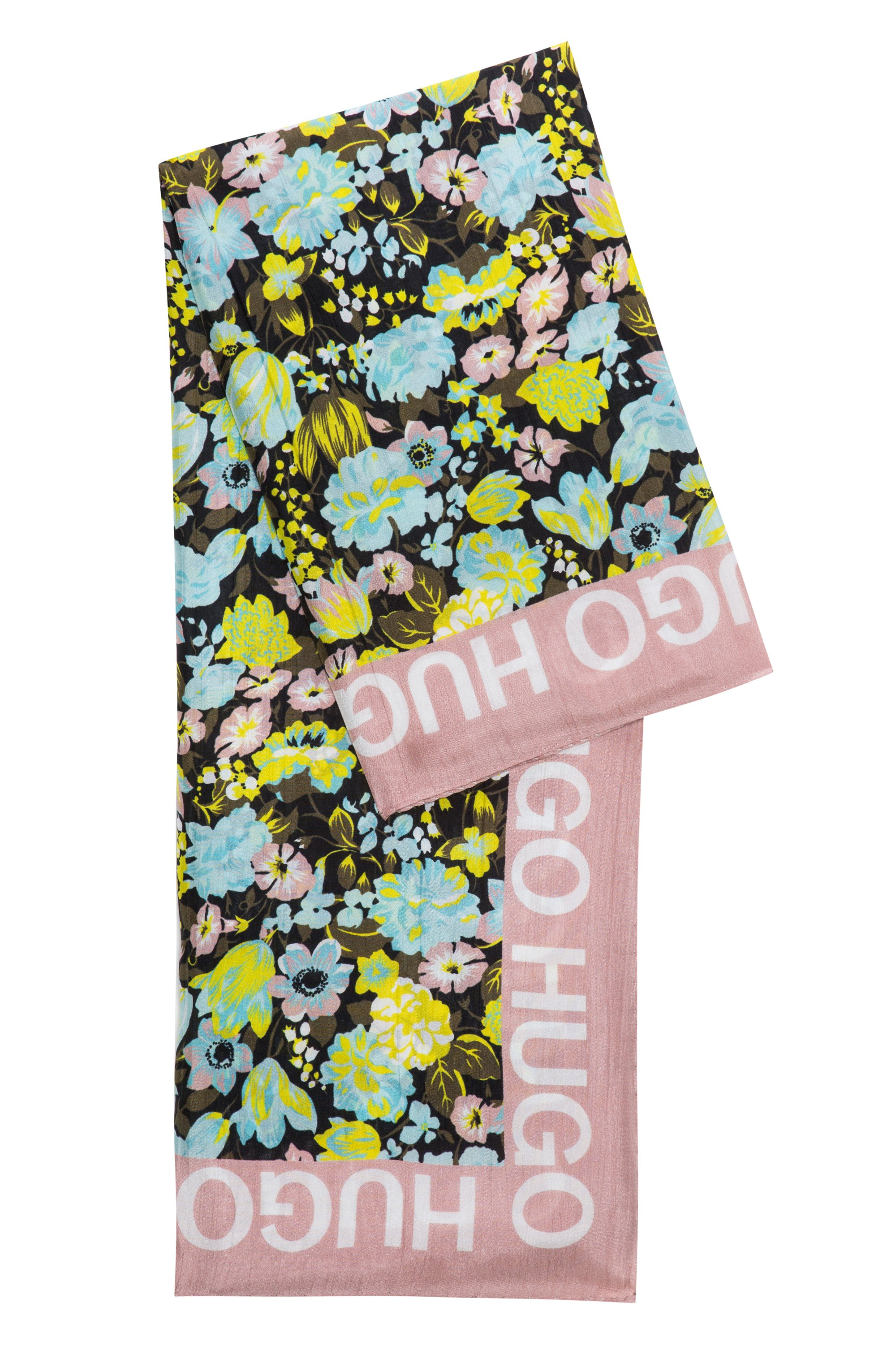 Floral scarf in habotai silk, Patterned