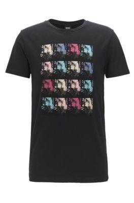 T-shirt Regular Fit en jersey de coton à motif palmier imprimé en série, Noir