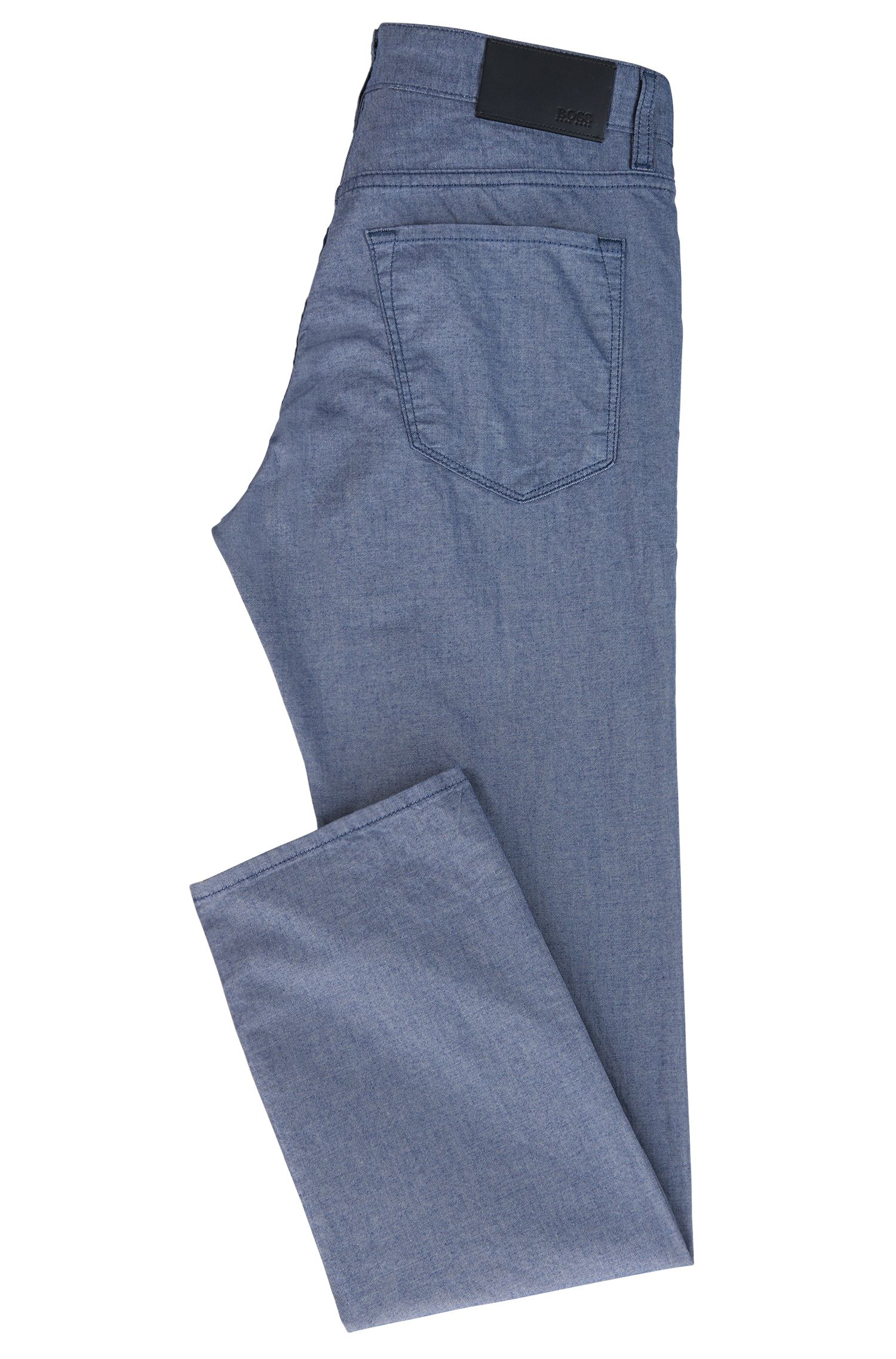 Regular-Fit Jeans aus melierter Stretch-Baumwolle