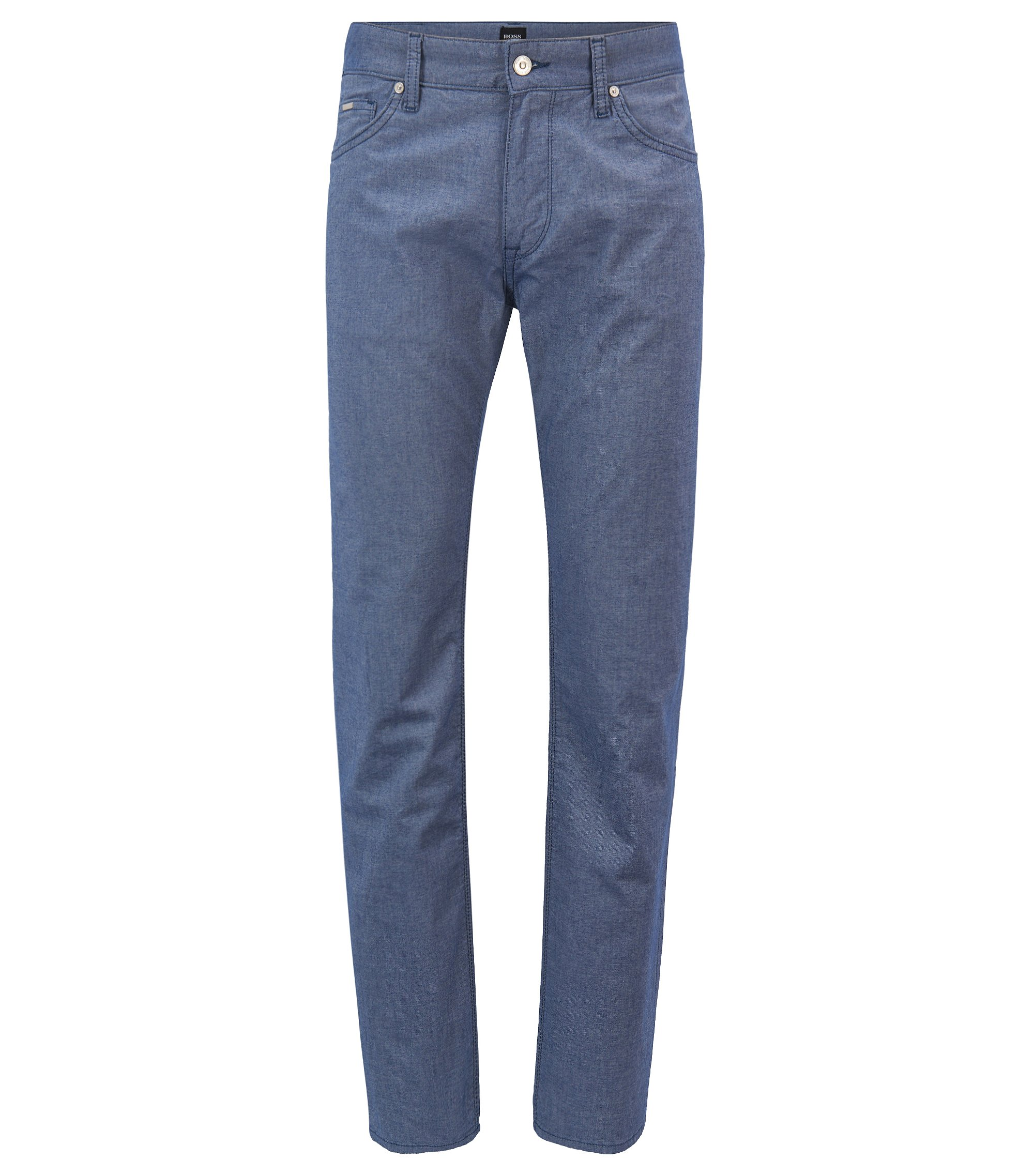 Regular-Fit Jeans aus melierter Stretch-Baumwolle, Blau