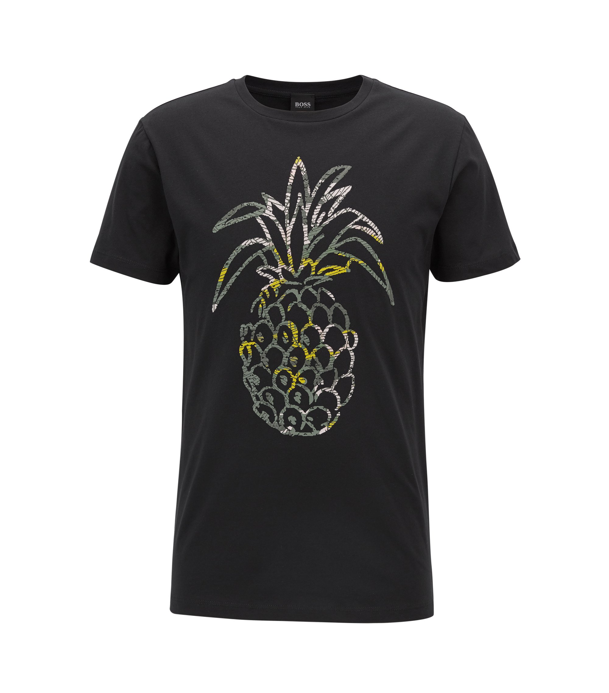 T-shirt regular fit in jersey di cotone lavato con ananas stampato, Nero