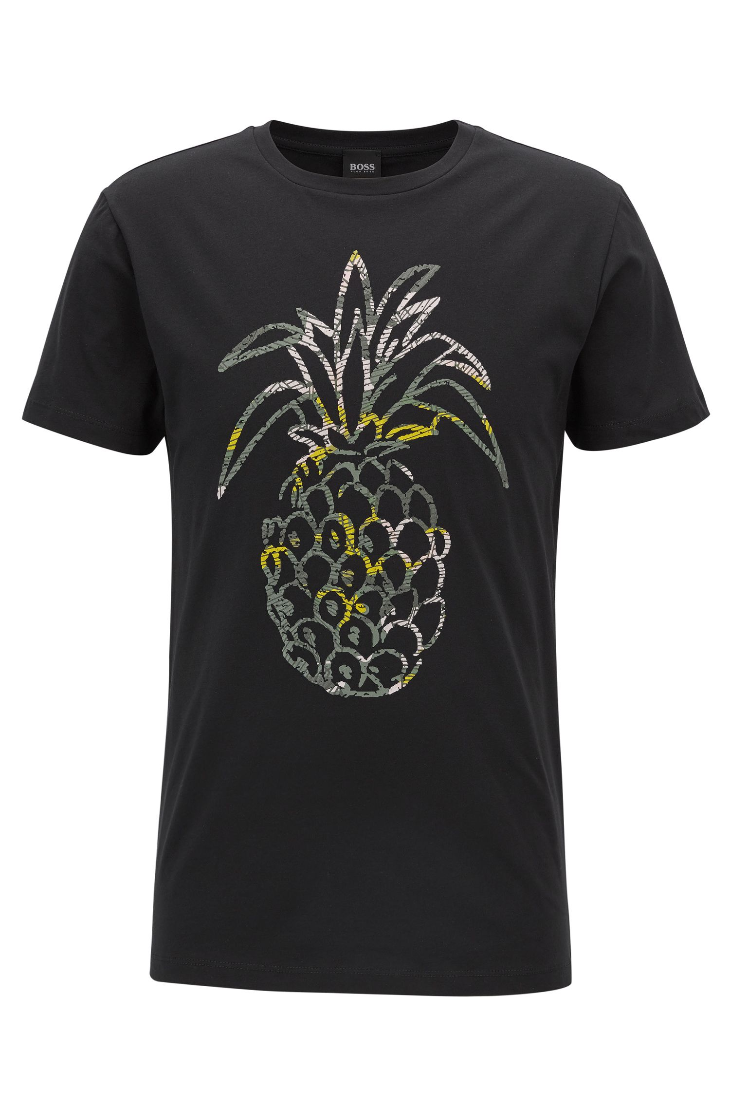 Regular-fit pineapple-print T-shirt in washed cotton jersey
