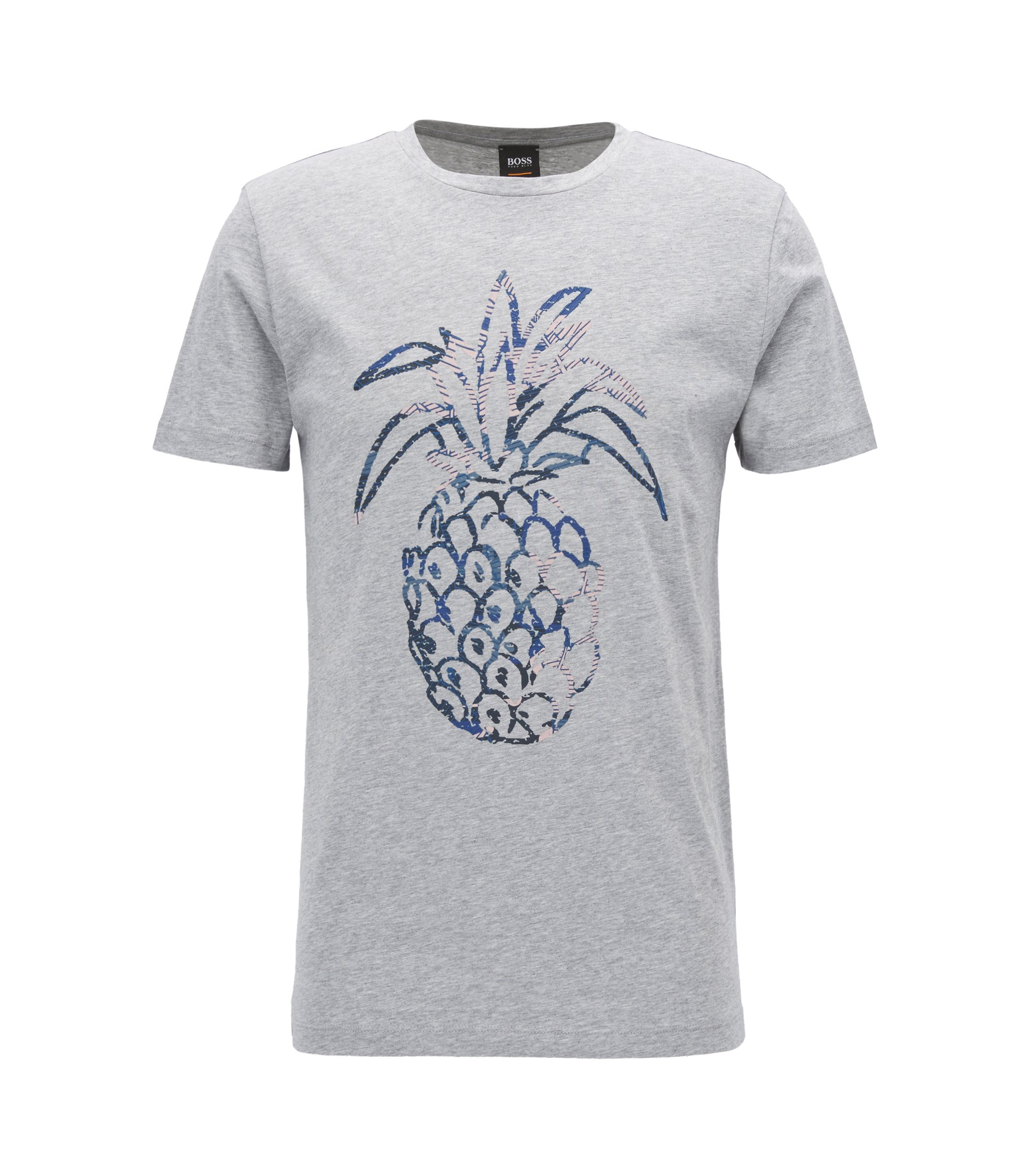 Regular-fit pineapple-print T-shirt in washed cotton jersey, Light Grey