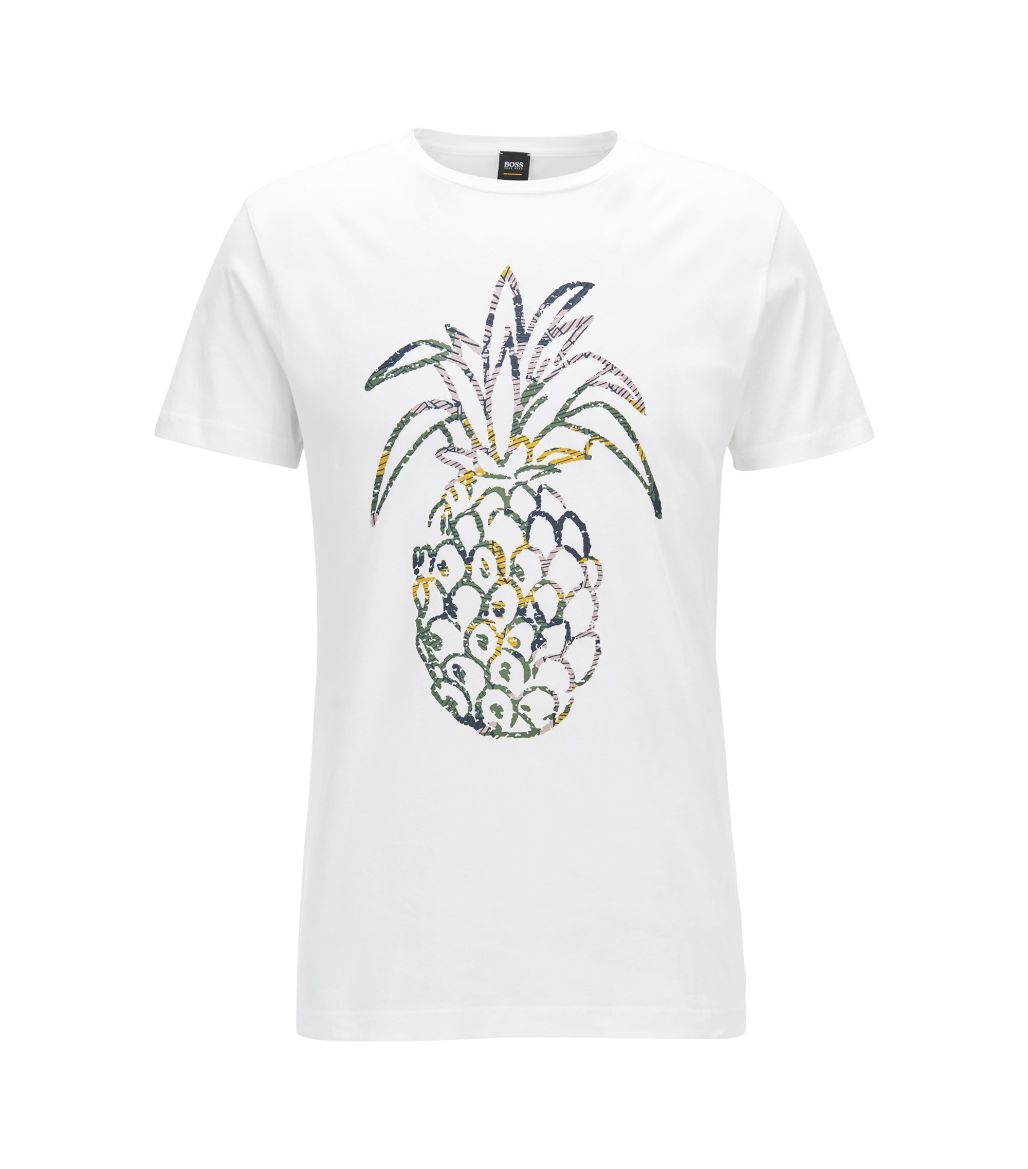 Regular-fit pineapple-print T-shirt in washed cotton jersey, White