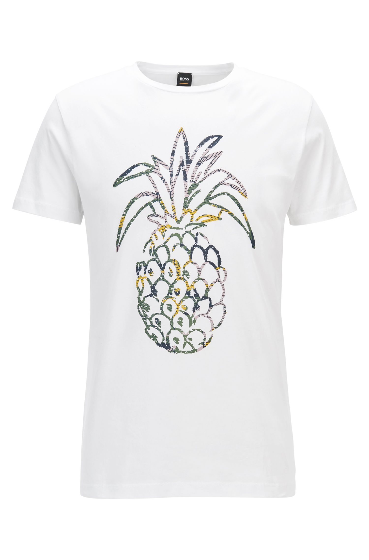 Regular-Fit T-Shirt aus gewaschenem Baumwoll-Jersey mit Ananas-Print