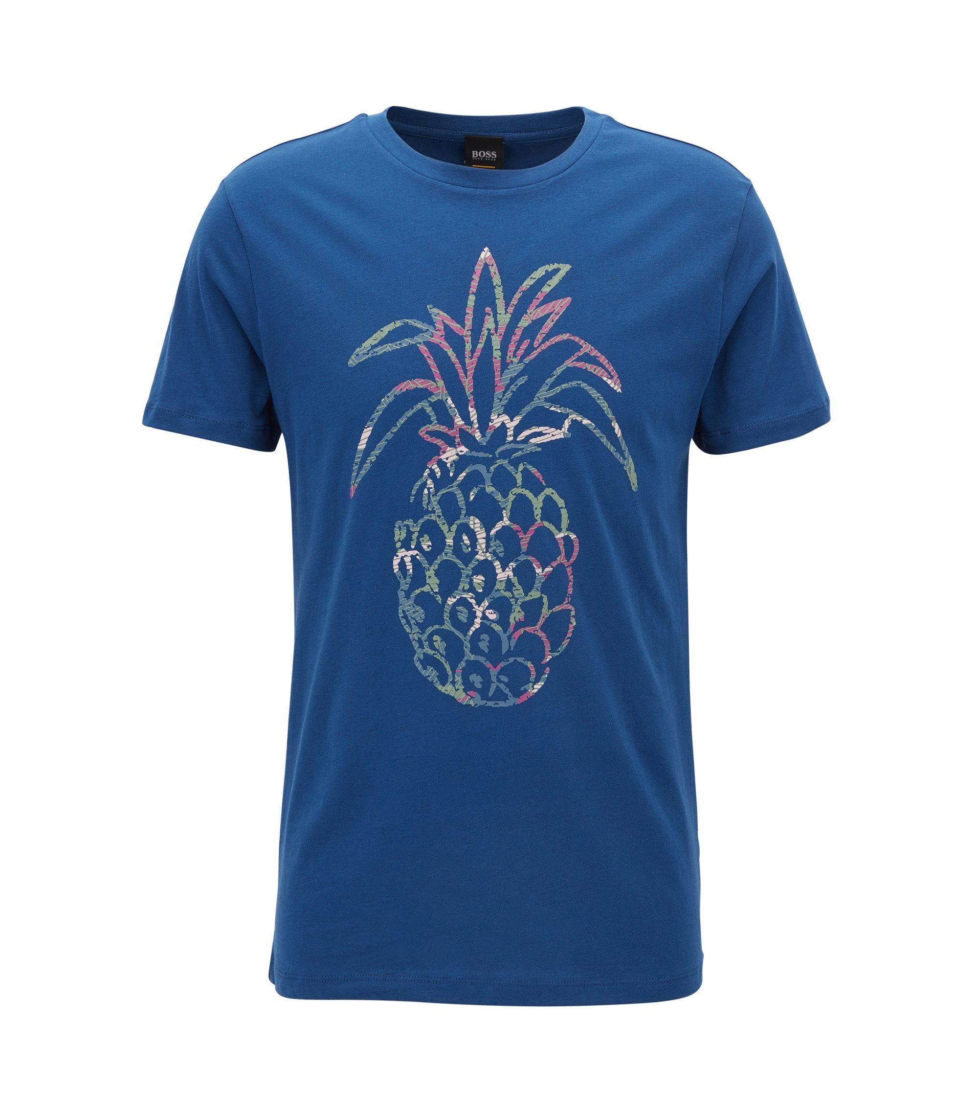 Regular-fit pineapple-print T-shirt in washed cotton jersey, Blue