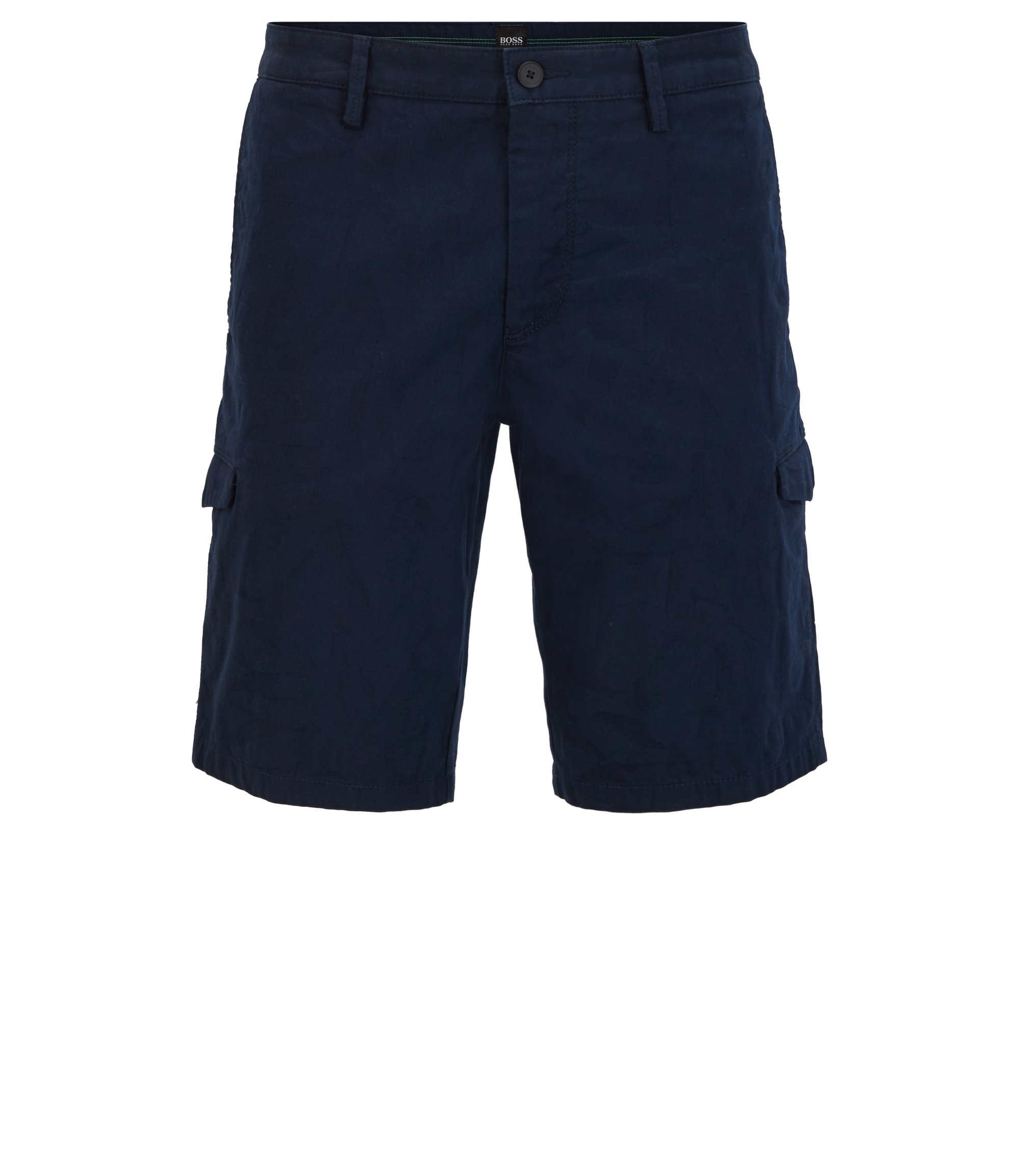 Slim-fit shorts with concealable pocket flaps, Dark Blue