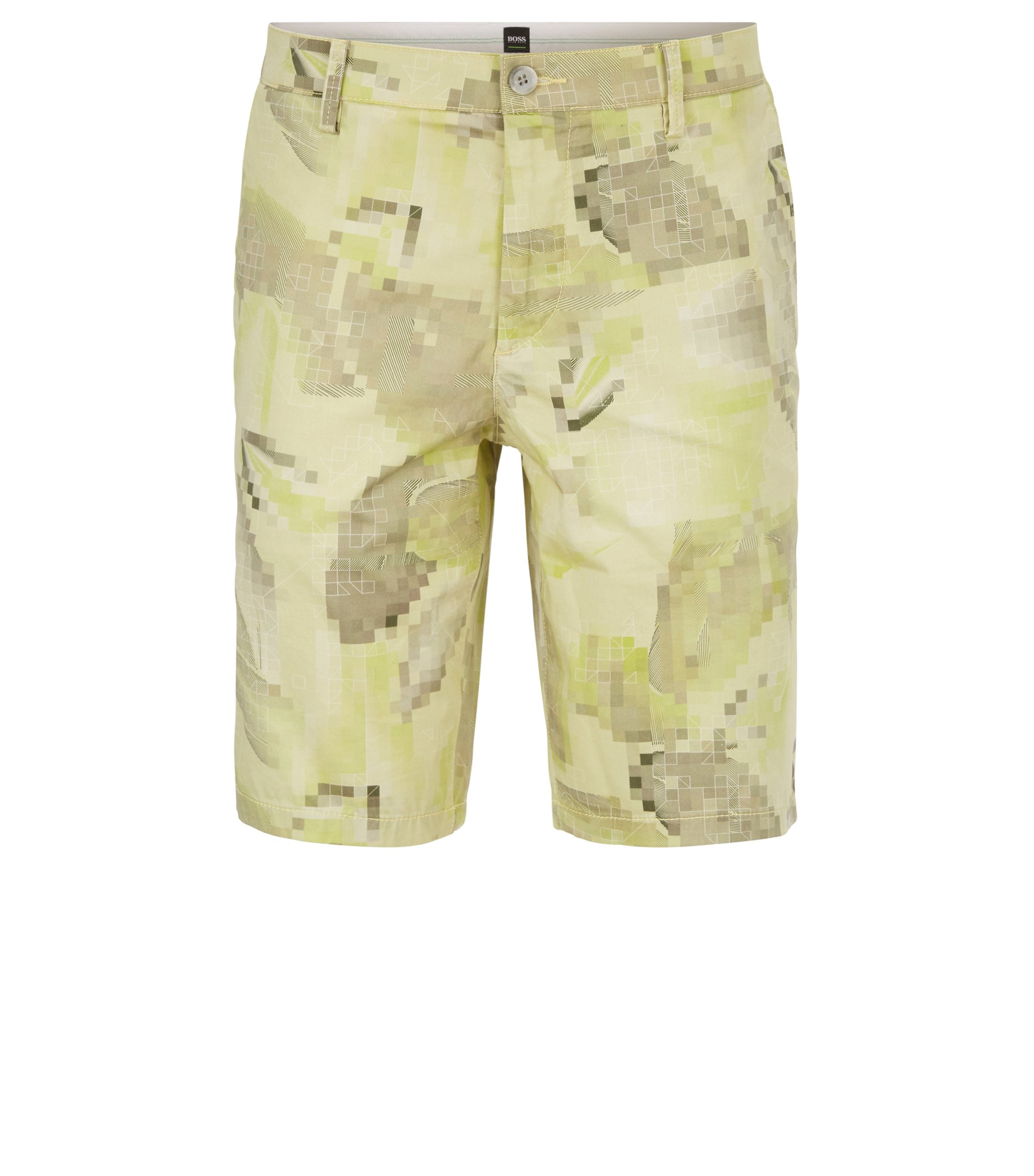 Graphic-print shorts in soft stretch cotton, Light Green