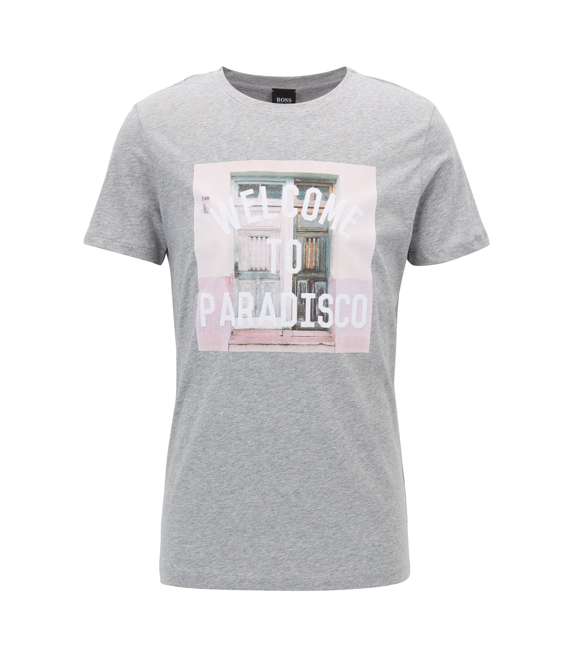 T-shirt graphique Relaxed Fit en jersey simple de coton, Gris