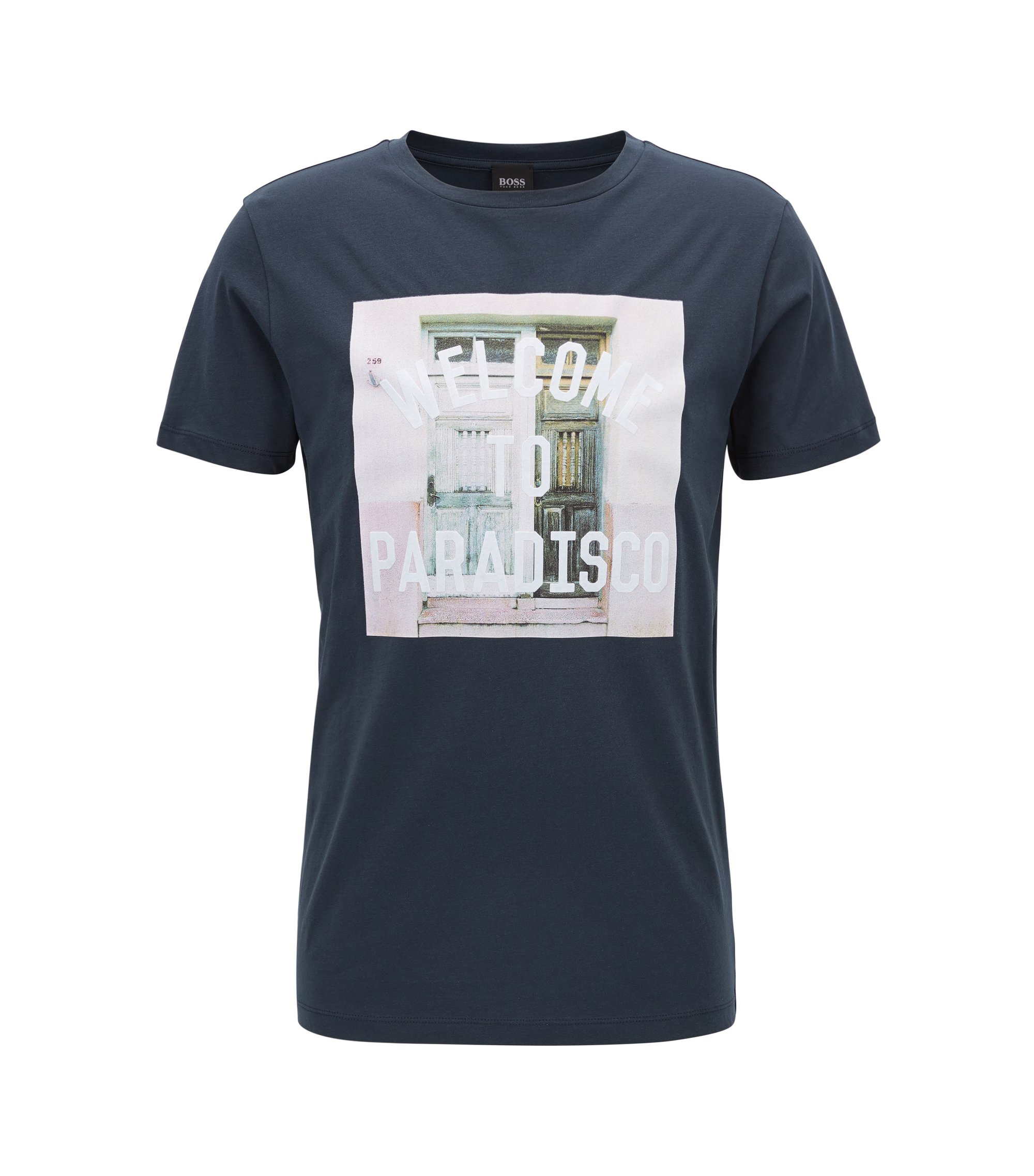 T-shirt graphique Relaxed Fit en jersey simple de coton, Bleu foncé