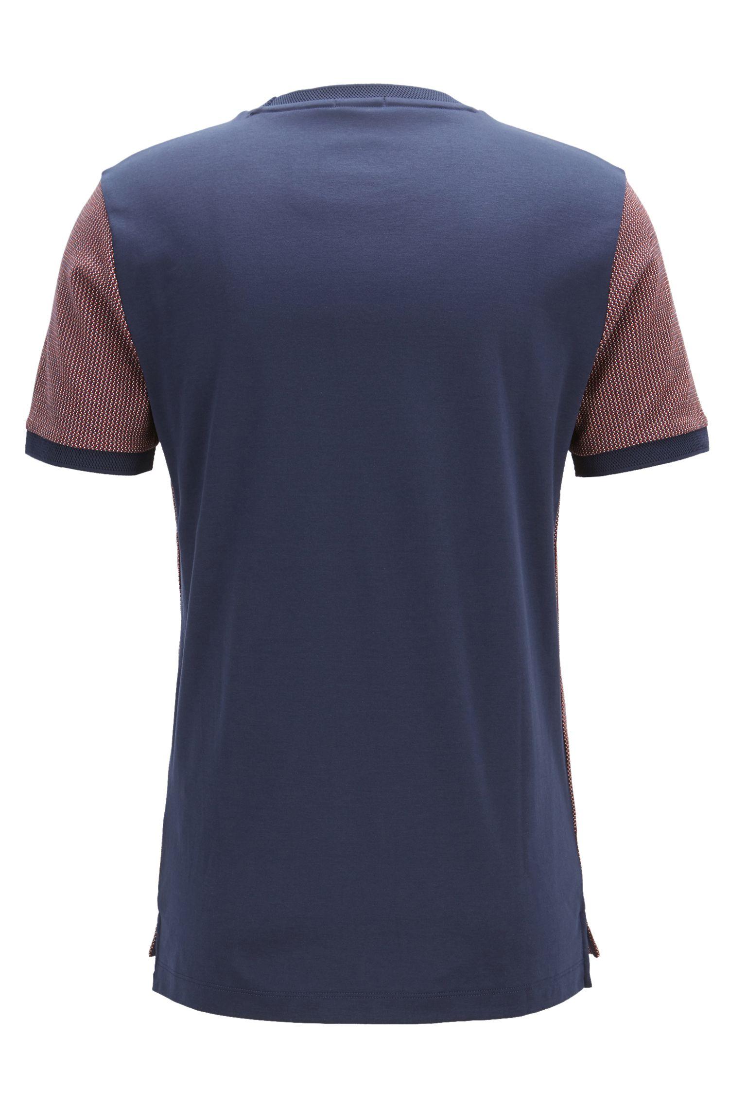 T-shirt Slim Fit en coton jacquard à motif caviar