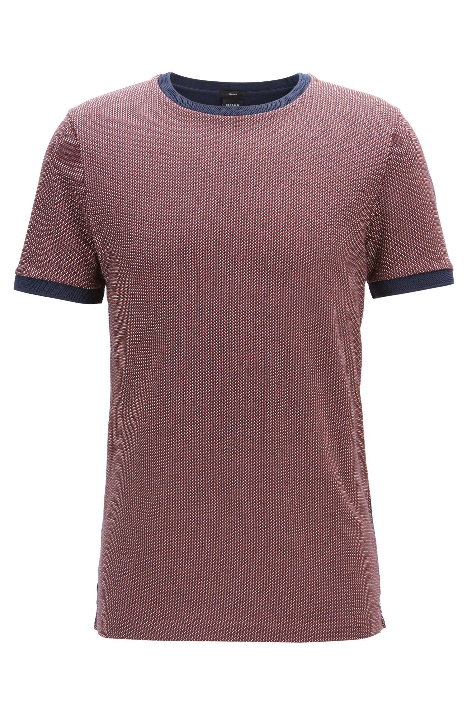 Slim-fit T-shirt in een birdseye-jacquard van katoen