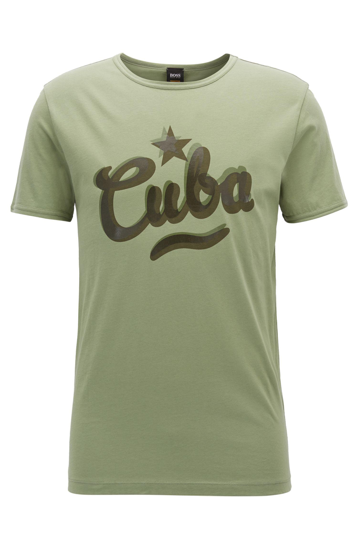 Camiseta relaxed fit en punto de algodón lavado con eslogan estampado