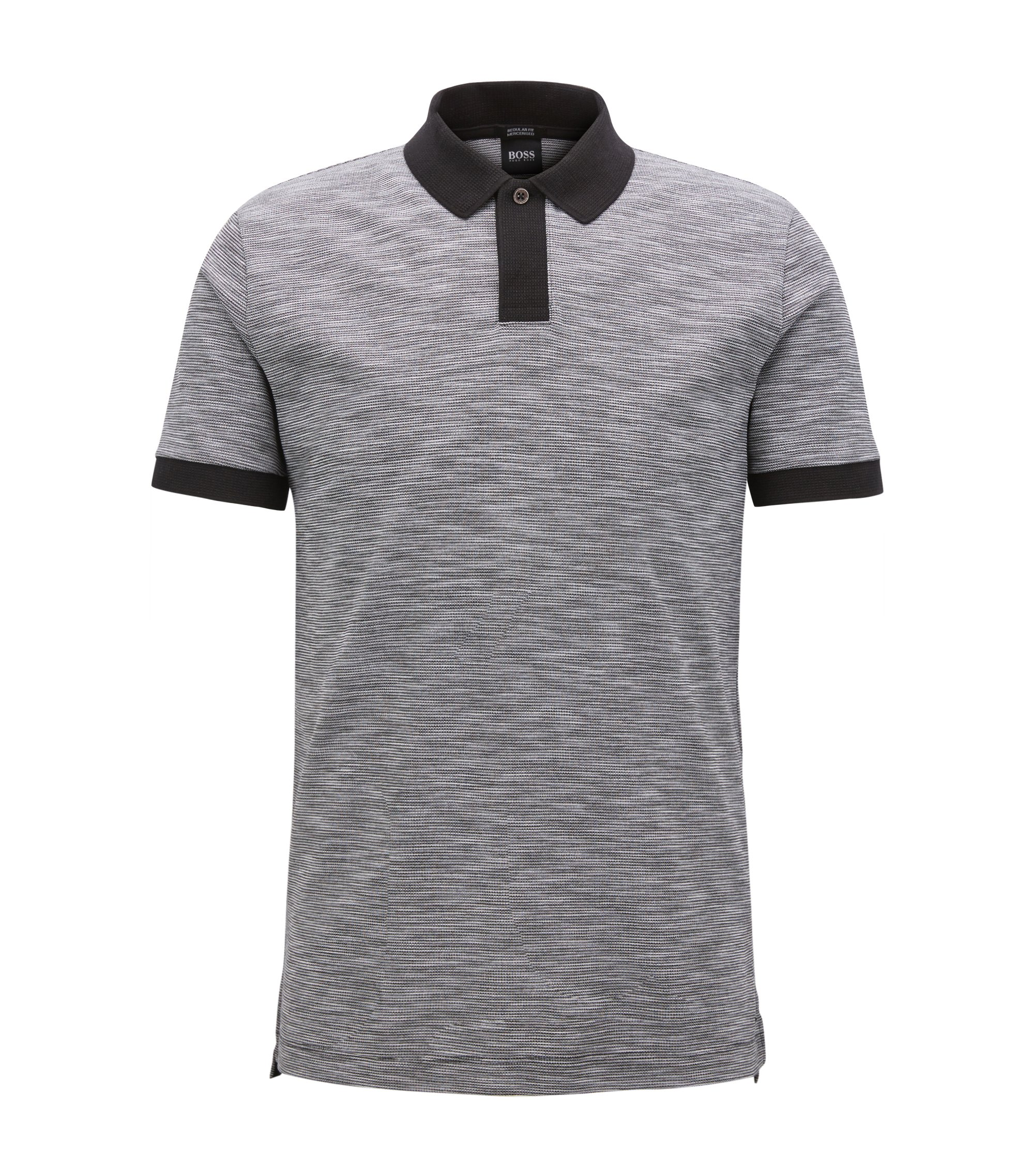 Polo shirt in two-tone cotton piqué, Black