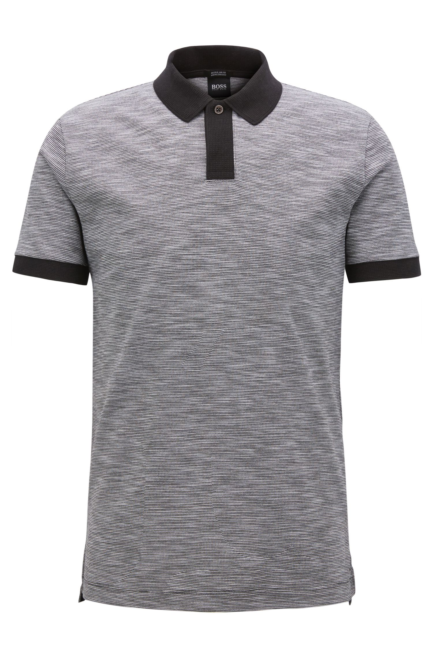 Polo shirt in two-tone cotton piqué