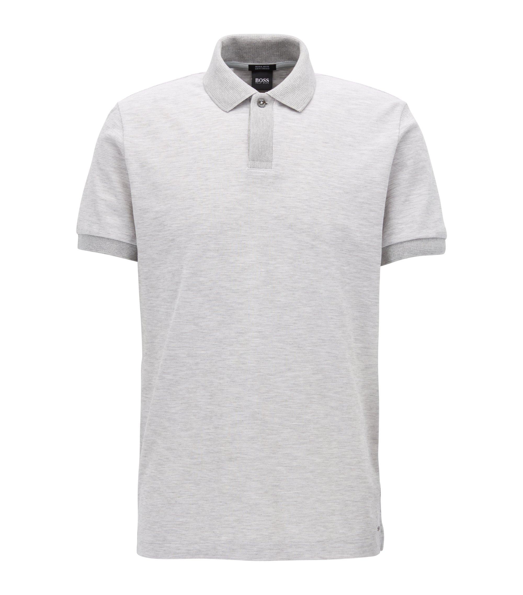 Zweifarbiges Poloshirt aus Baumwoll-Piqué, Grau