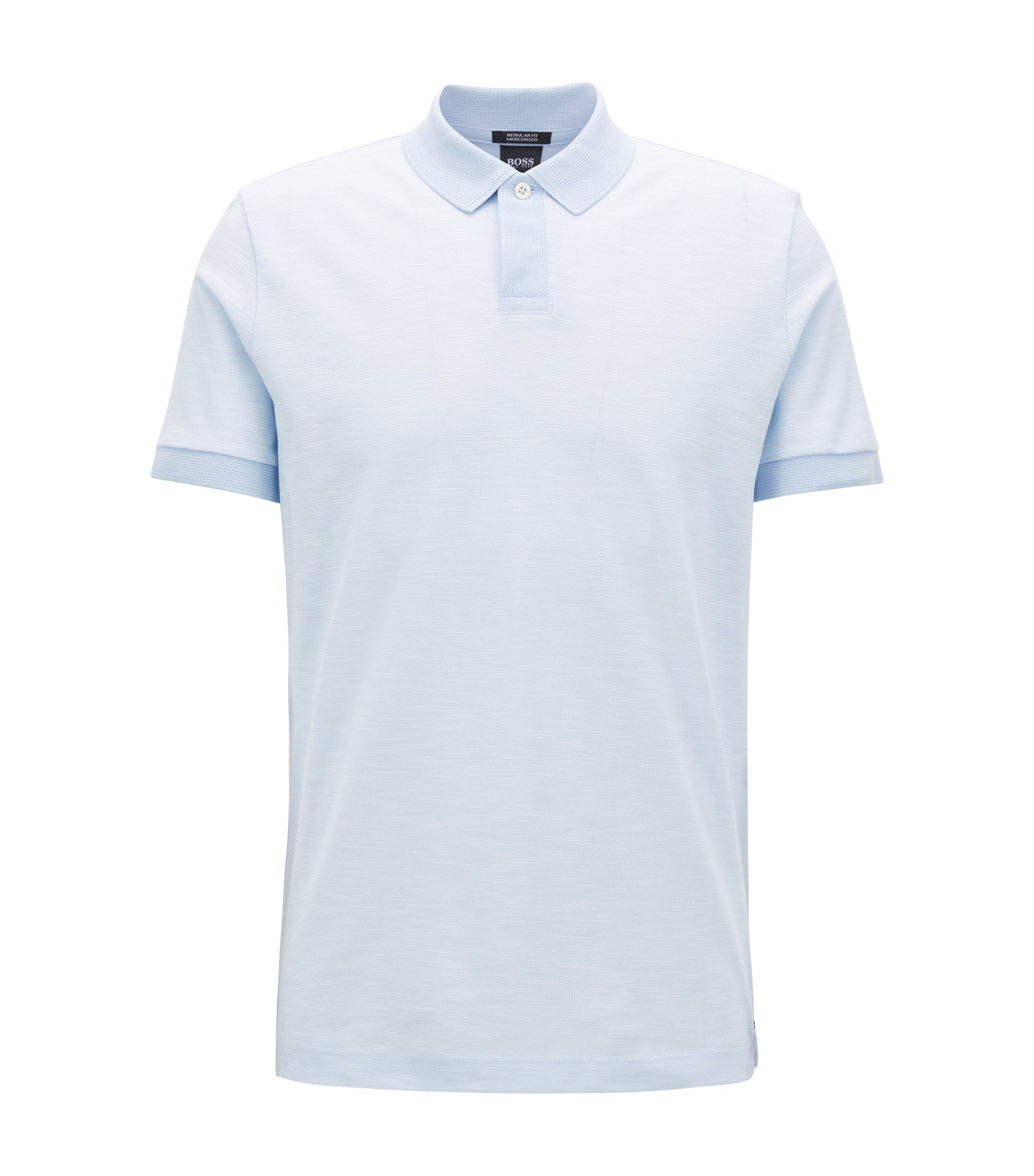 Zweifarbiges Poloshirt aus Baumwoll-Piqué, Hellblau