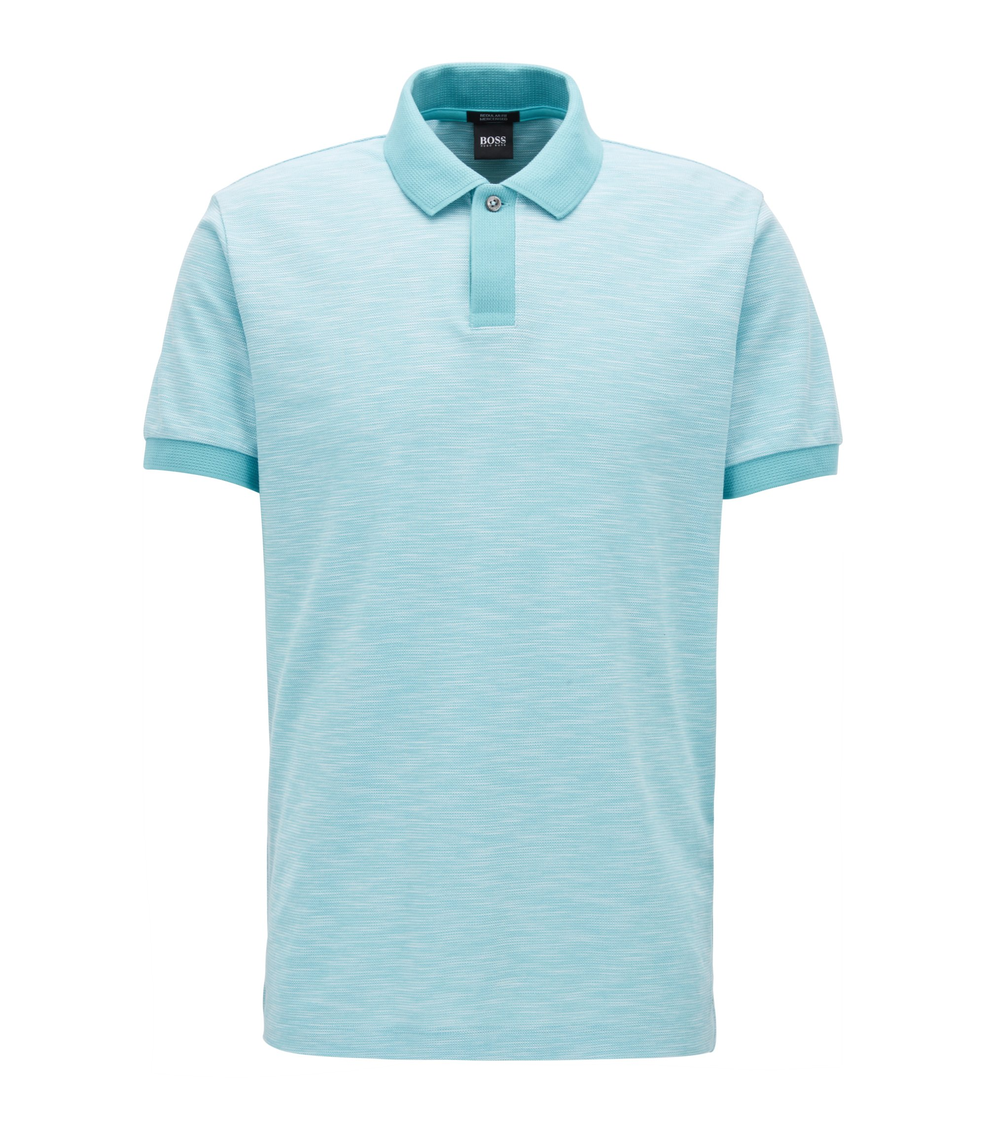 Polo shirt in two-tone cotton piqué, Hellblau