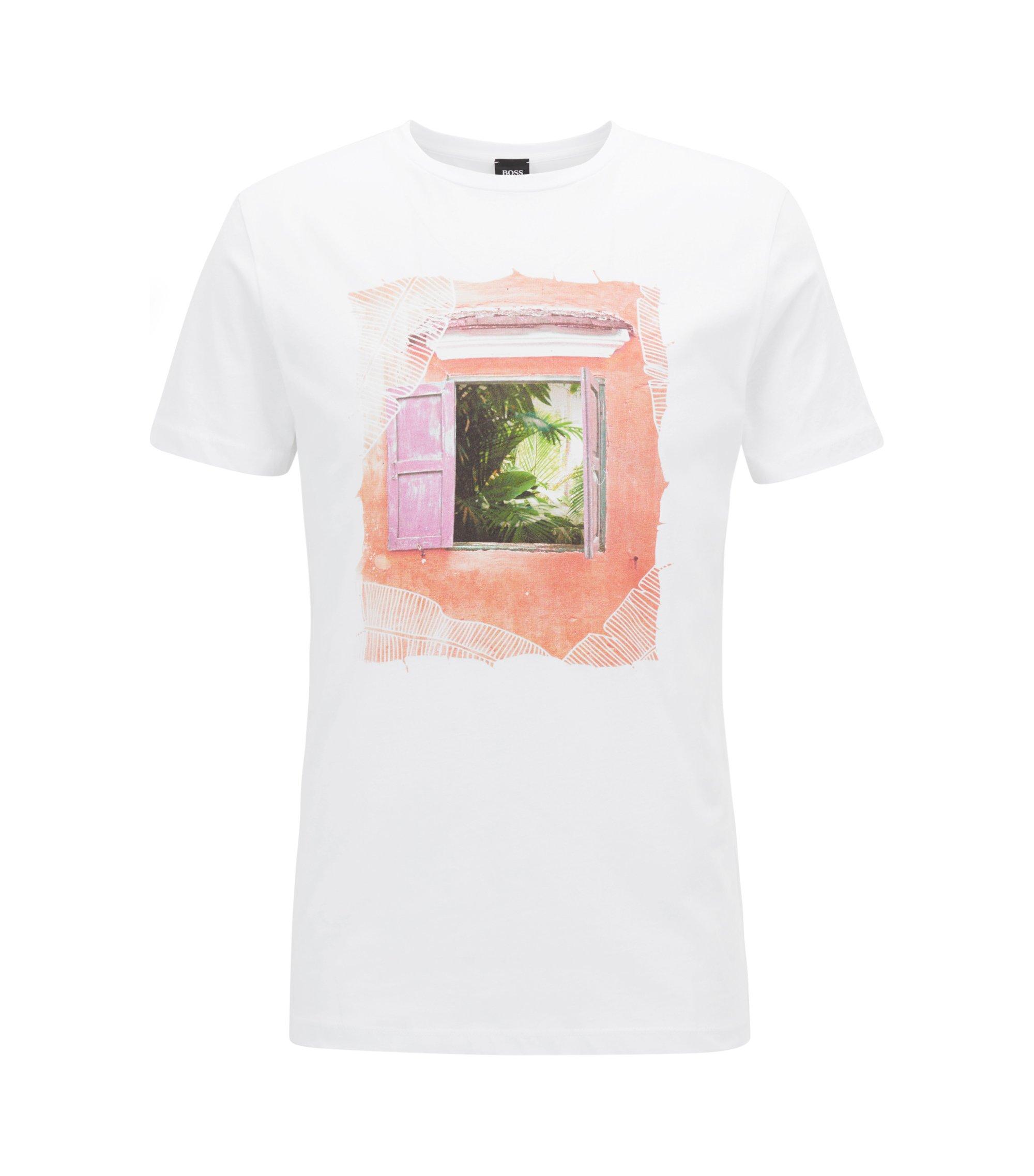 T-shirt ras-du-cou en coton, à motif d'inspiration cubaine, Blanc