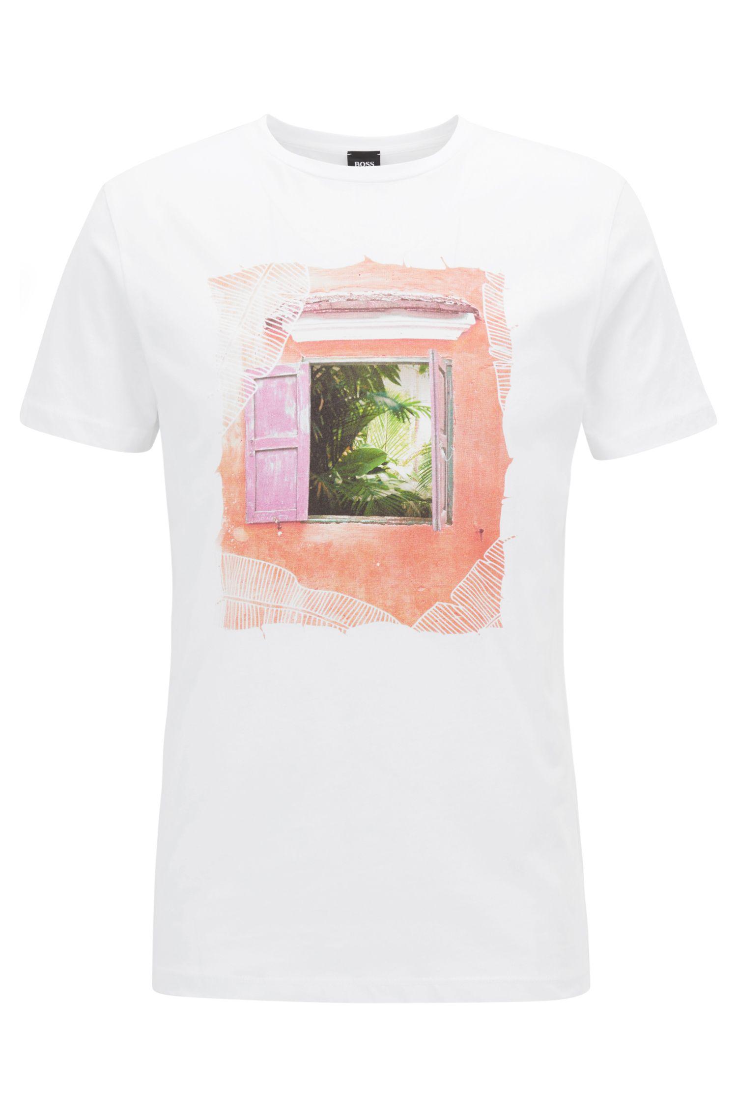 T-shirt a girocollo in cotone con stampa grafica d'ispirazione cubana