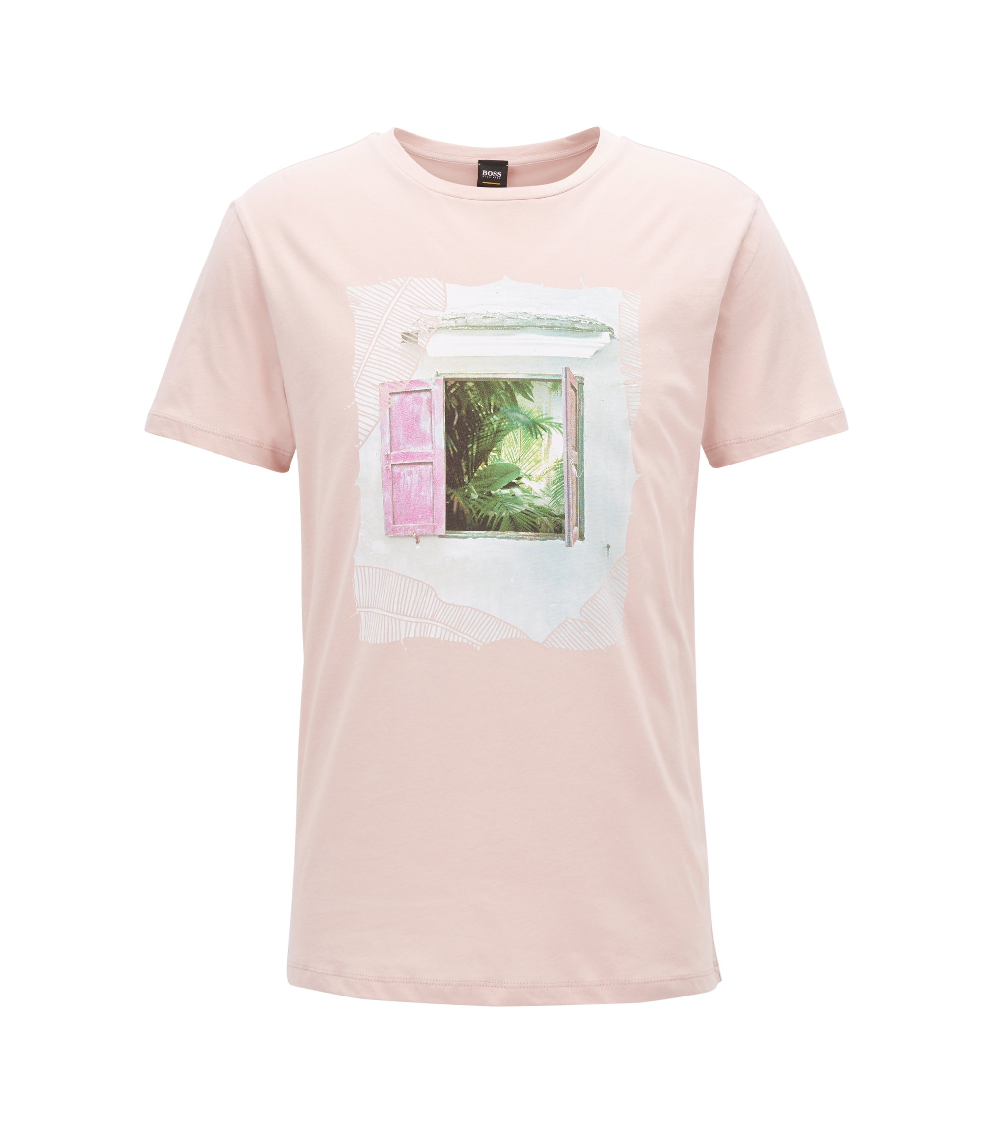 Crew-neck cotton T-shirt with Cuba-inspired graphic, light pink