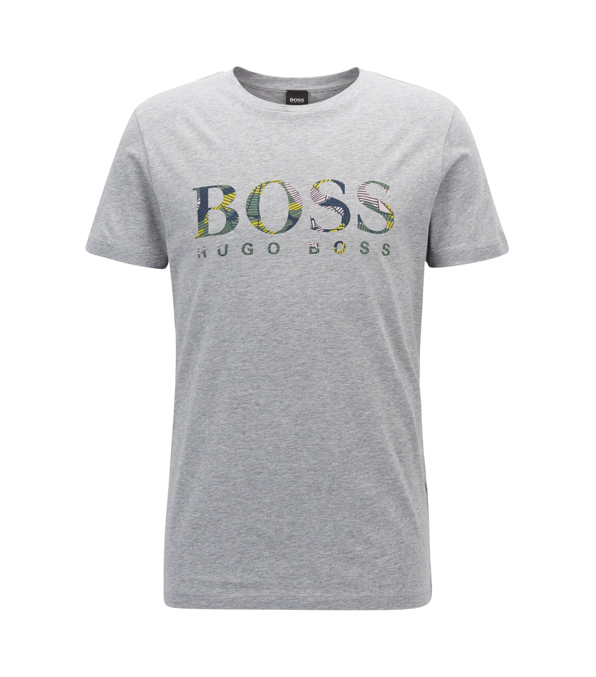 Cotton T-shirt in a relaxed fit with logo, Grey