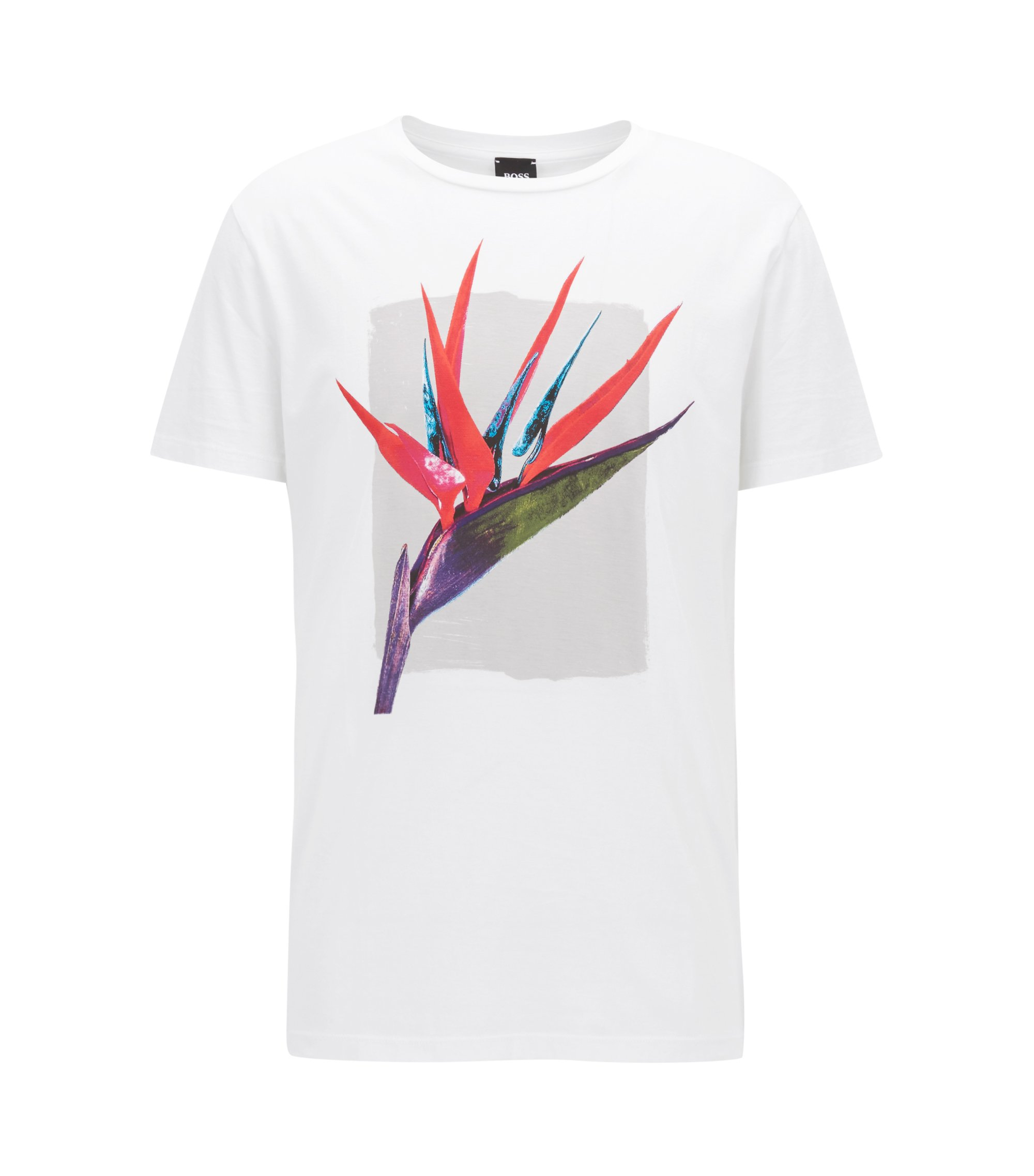 T-shirt relaxed fit in cotone Pima con stampa grafica mista, Bianco