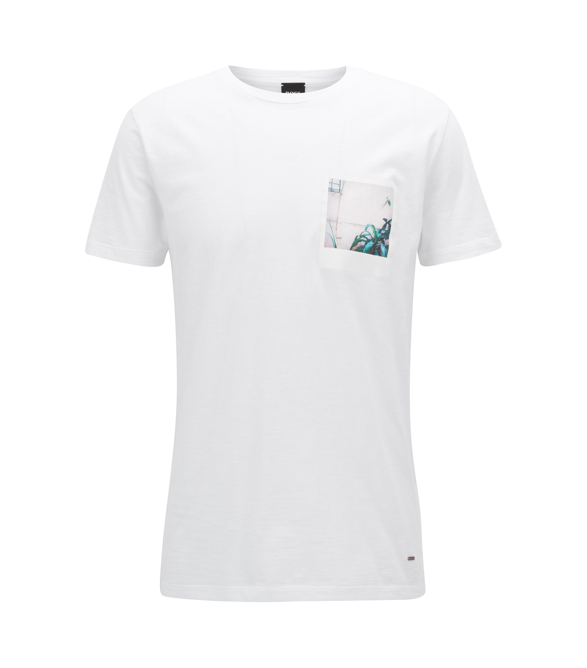 T-shirt Relaxed Fit en coton flammé à imprimé photo, Blanc