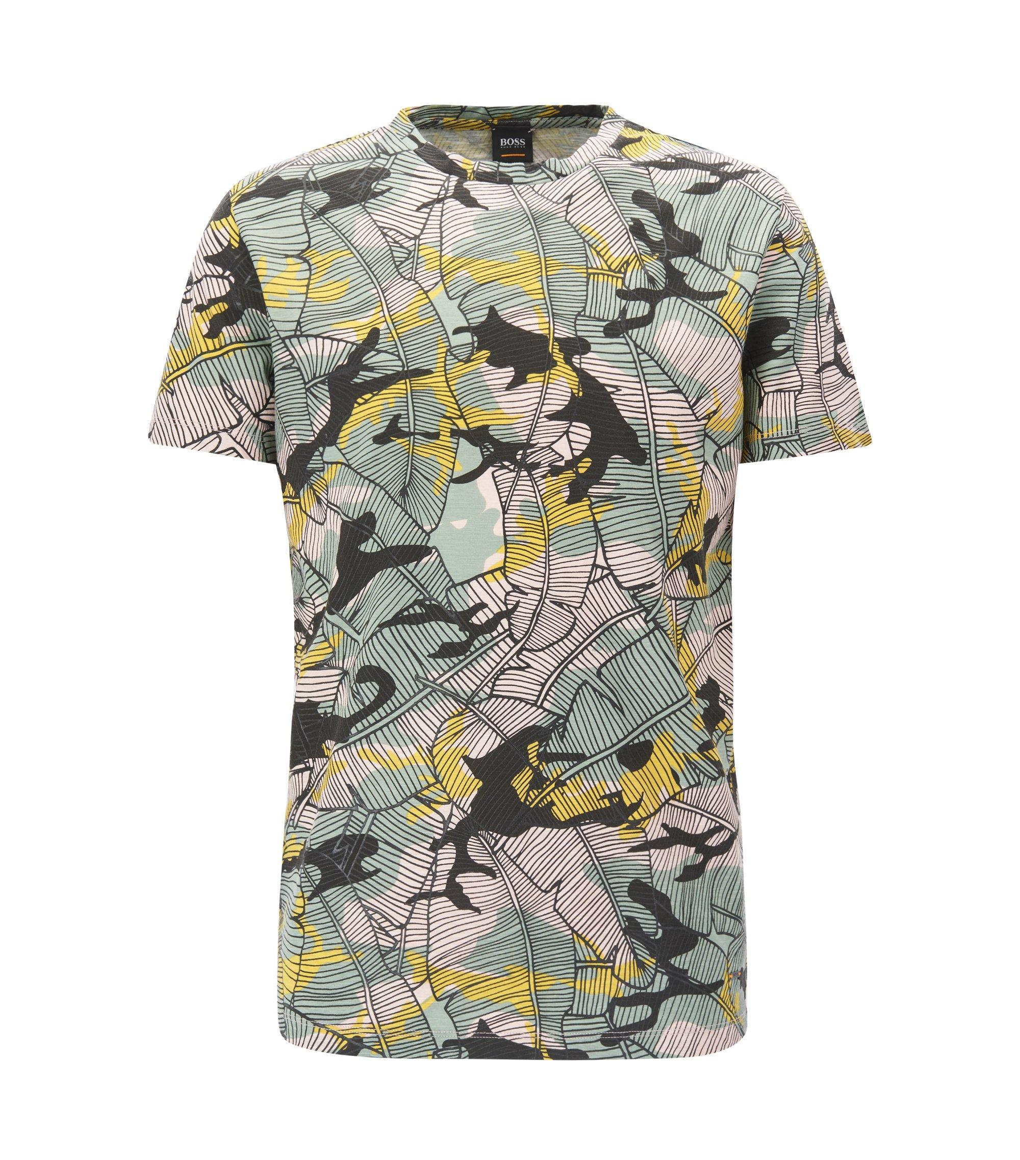 T-shirt en jersey de coton flammé à imprimé feuilles de bananier, Fantaisie