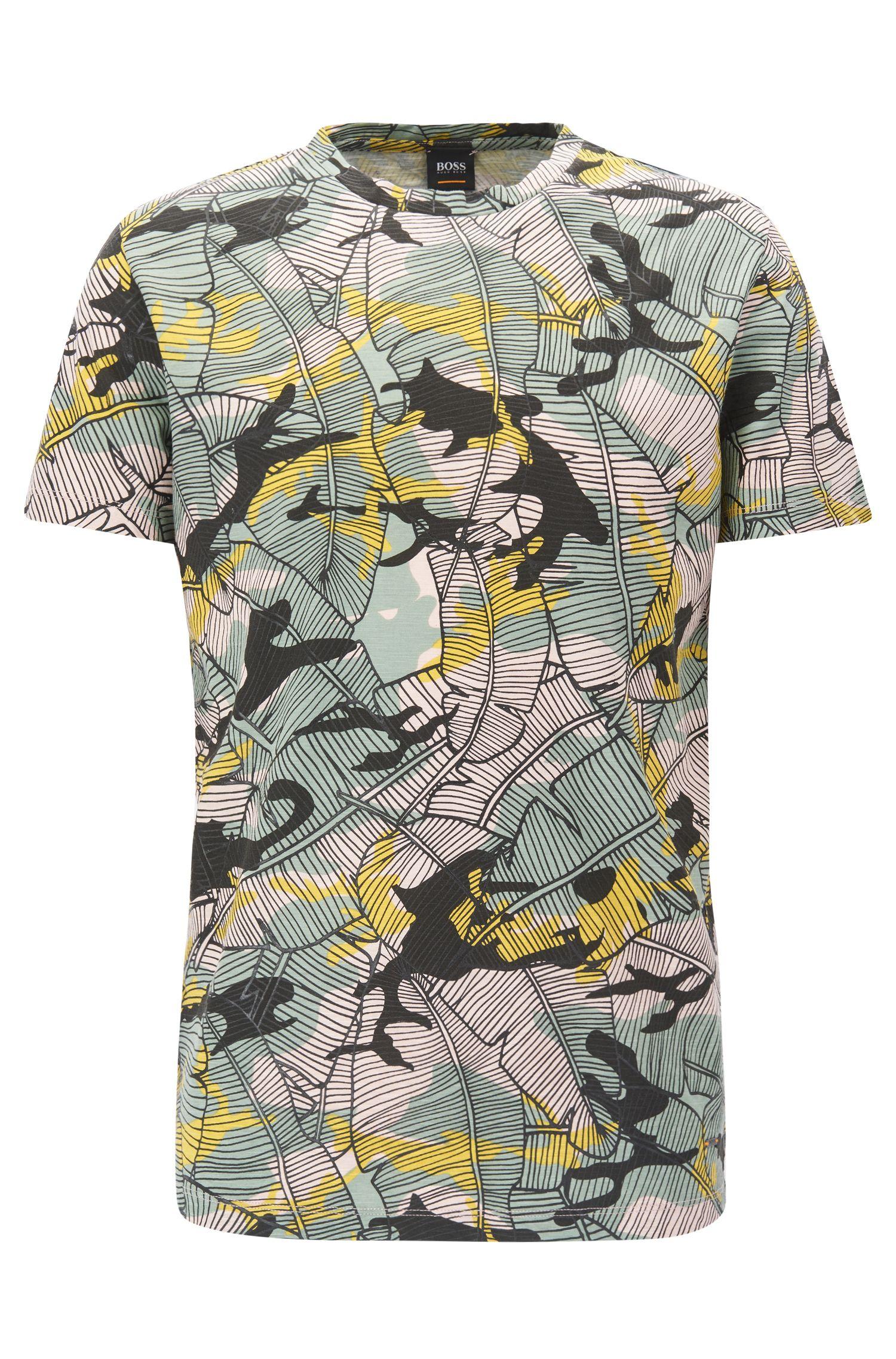 T-shirt en jersey de coton flammé à imprimé feuilles de bananier