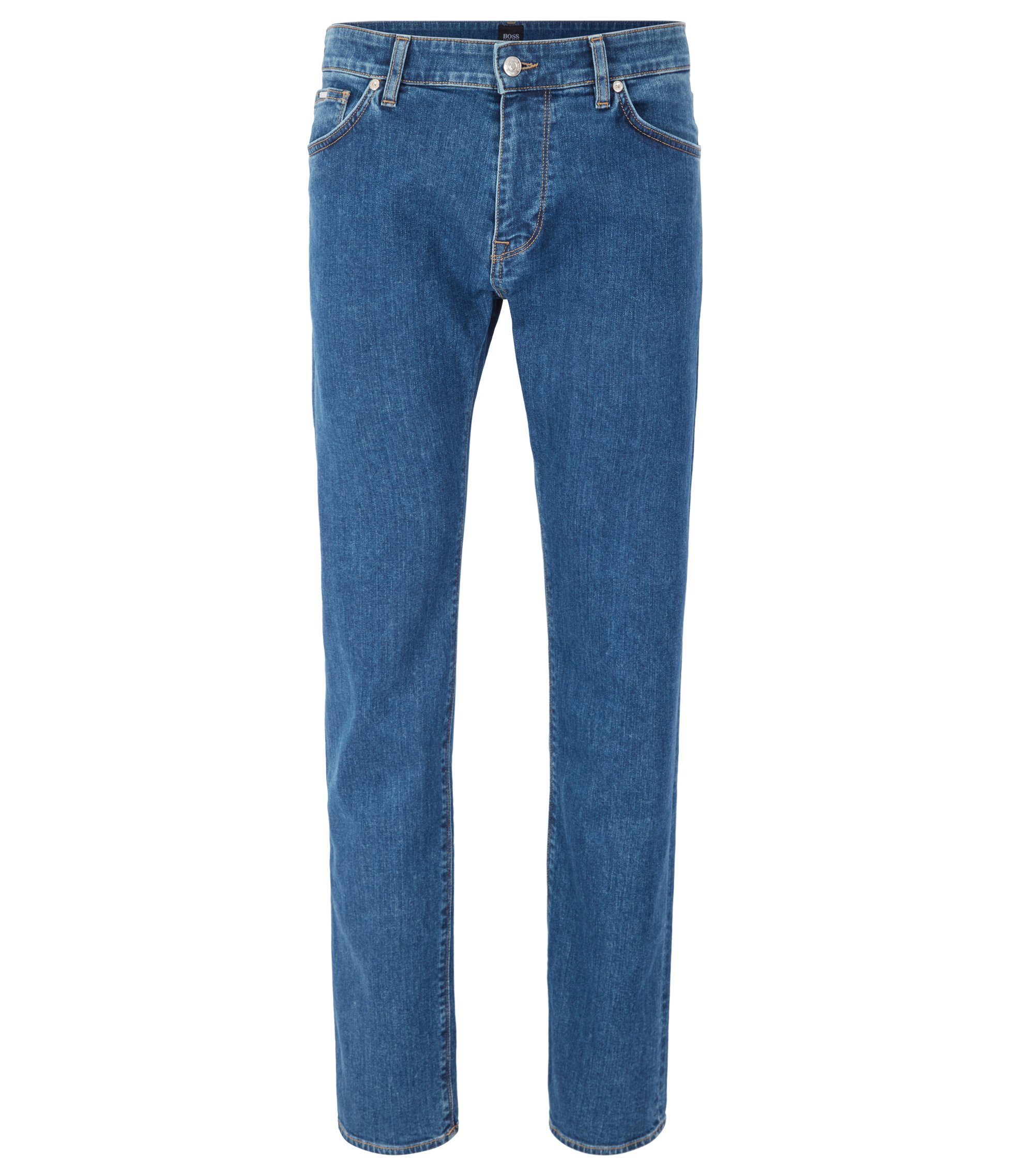 Jean Regular fit en denim stretch bleu moyen à la finition usée, Bleu