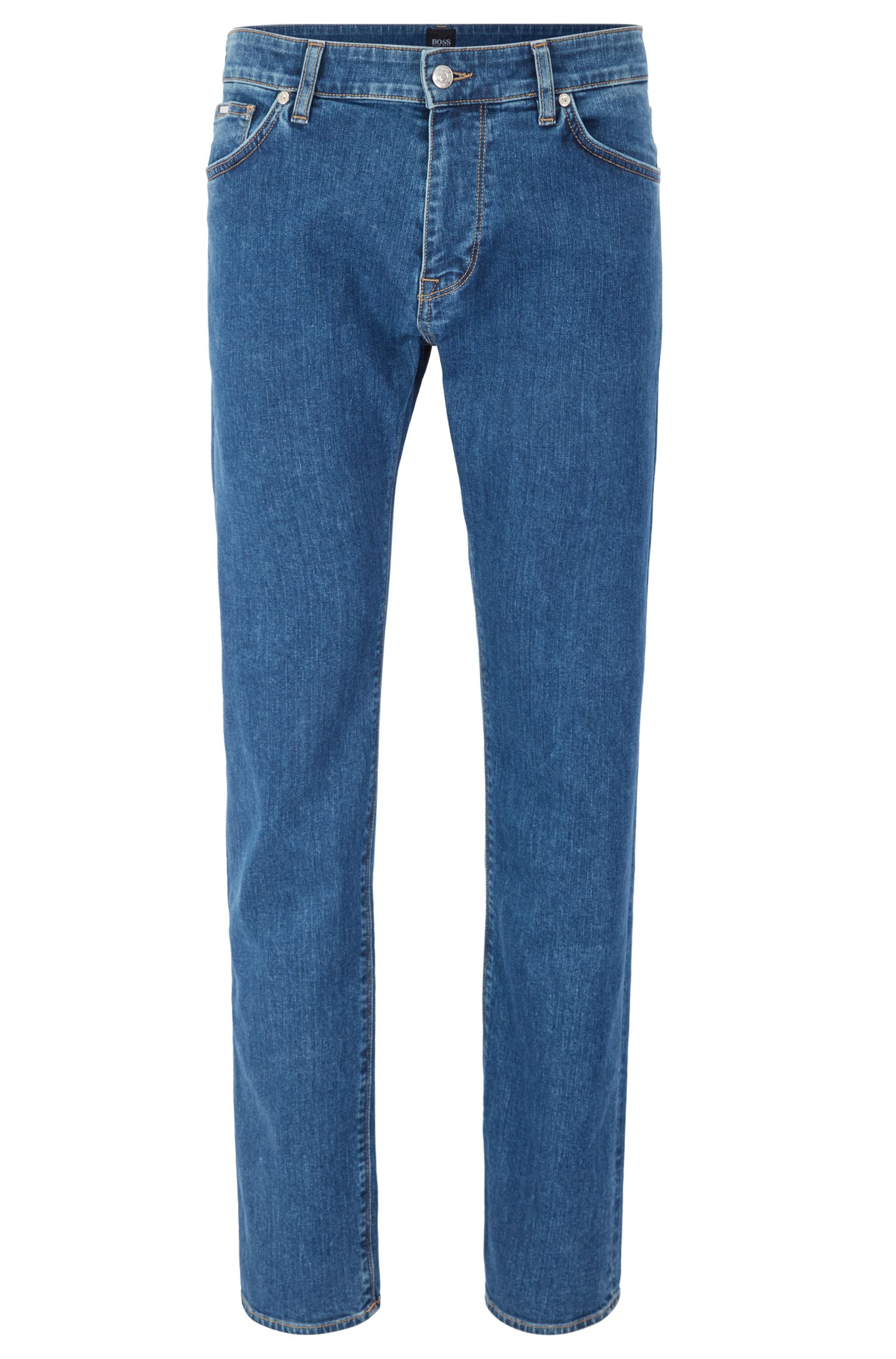 Regular-fit jeans in mid-blue stretch denim with used finish
