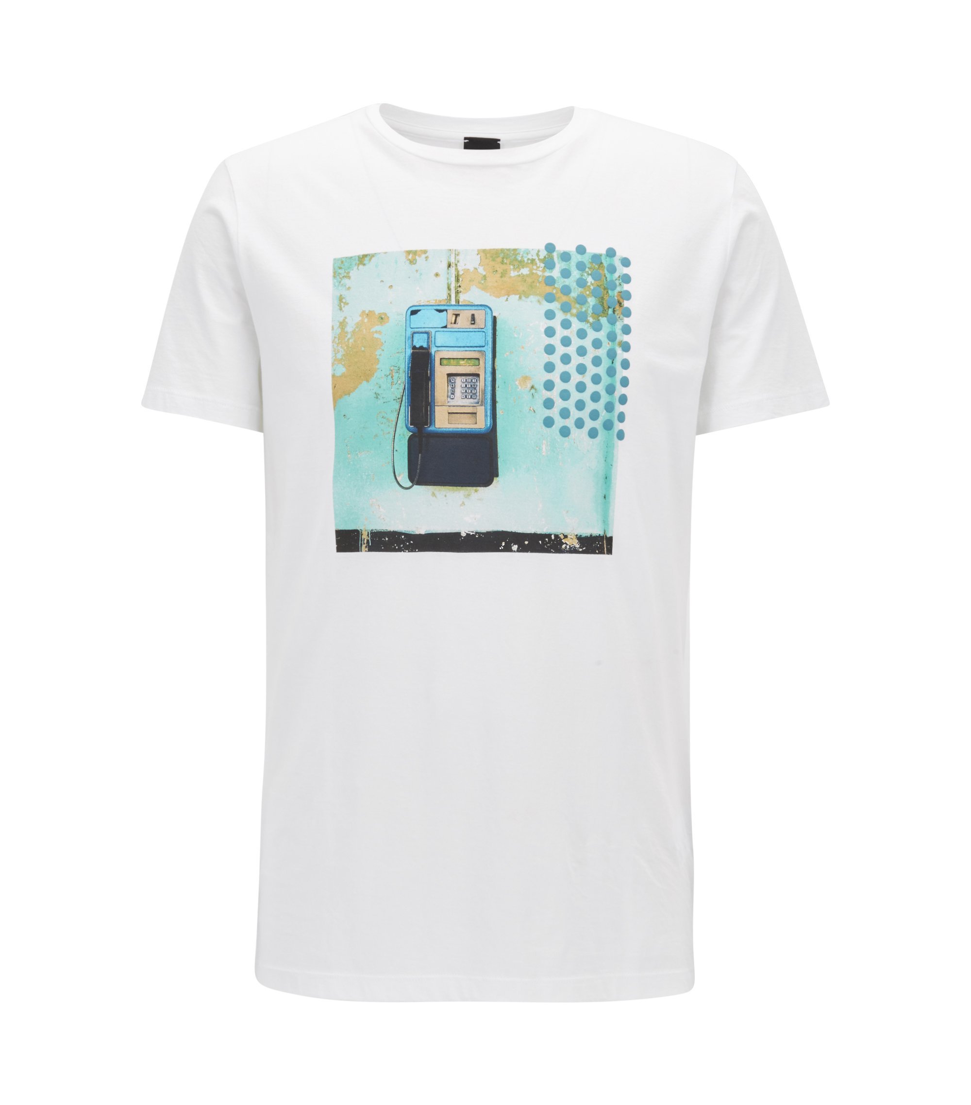 Regular-fit printed T-shirt in pima cotton, White