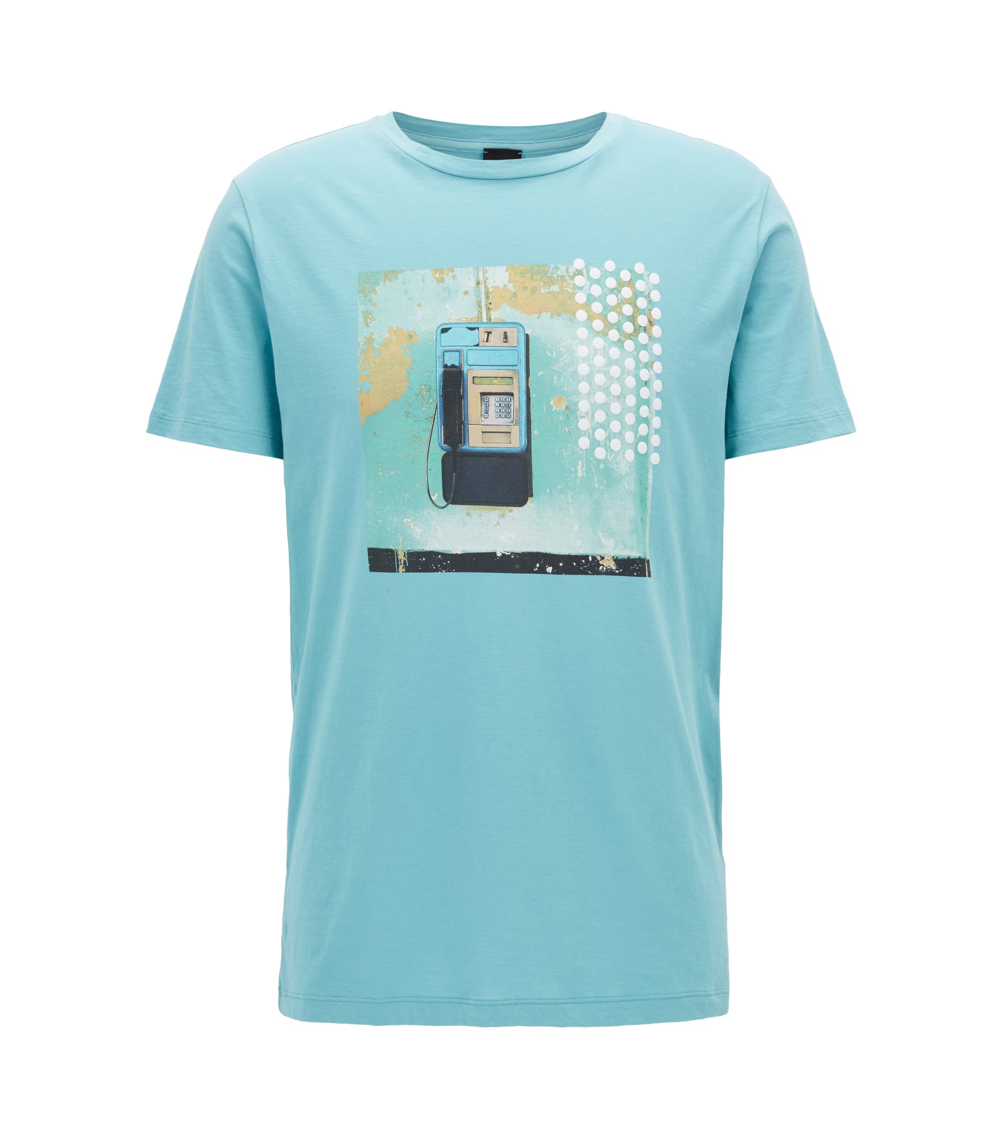 Regular-fit printed T-shirt in pima cotton, Turquoise