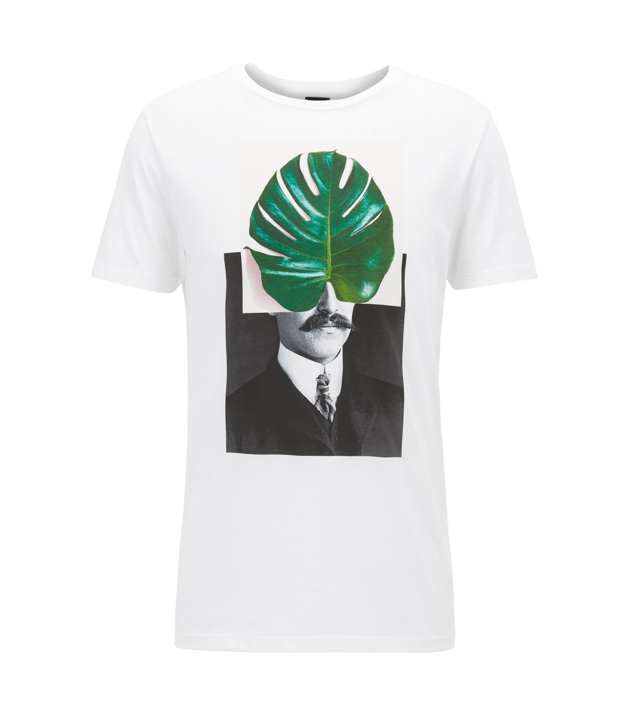 Digitally-printed pima-cotton T-shirt in a regular fit, White