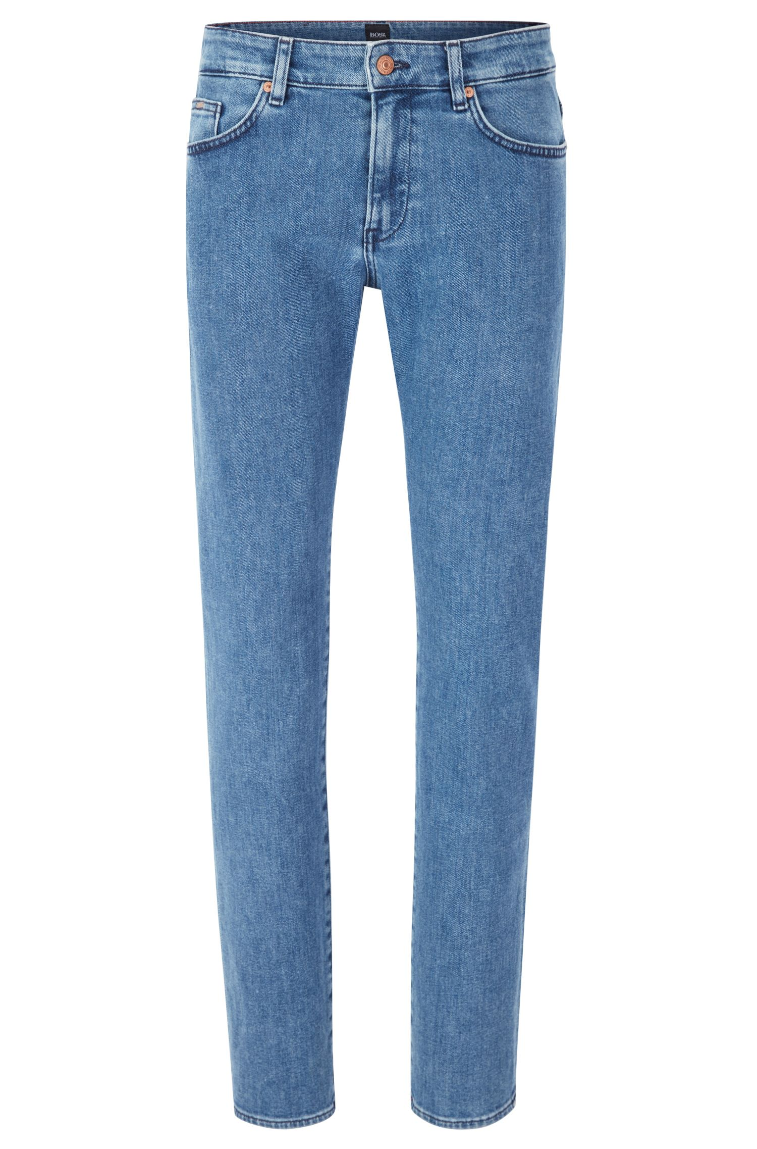 Slim-fit jeans van middelblauw stretchdenim