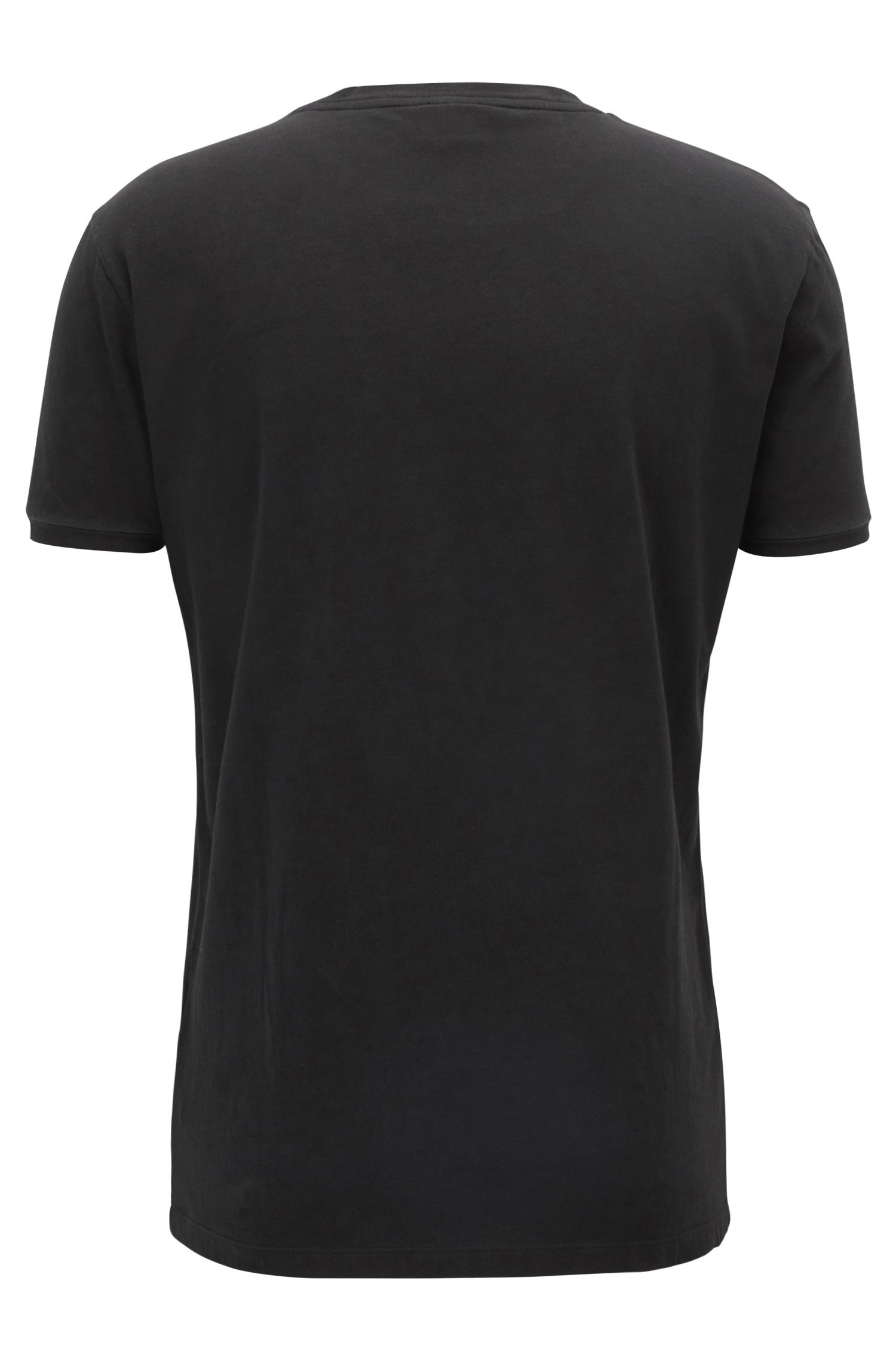 Camiseta de algodón con logo flocado