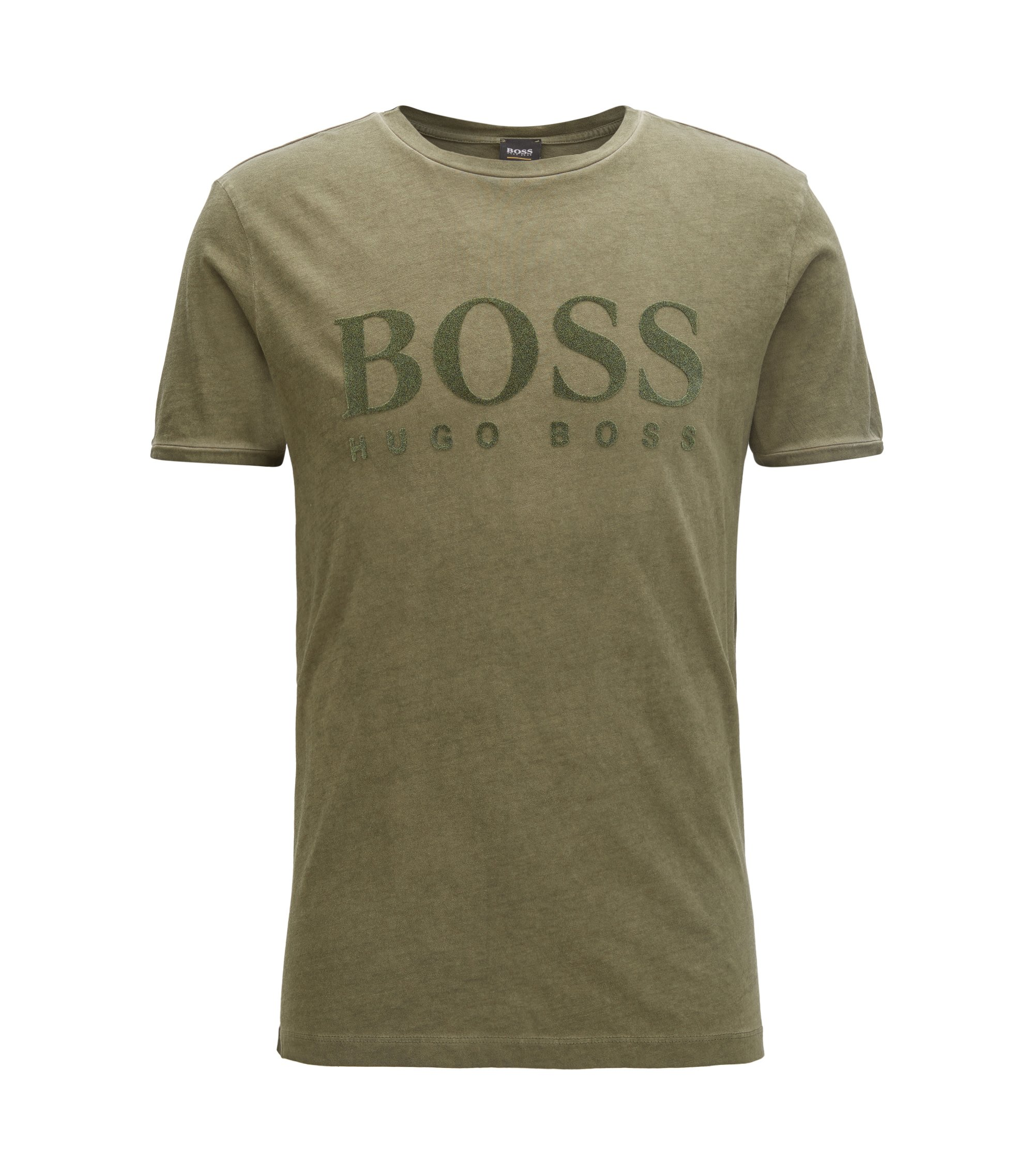 T-shirt in cotone con logo in stampa flock, Verde scuro
