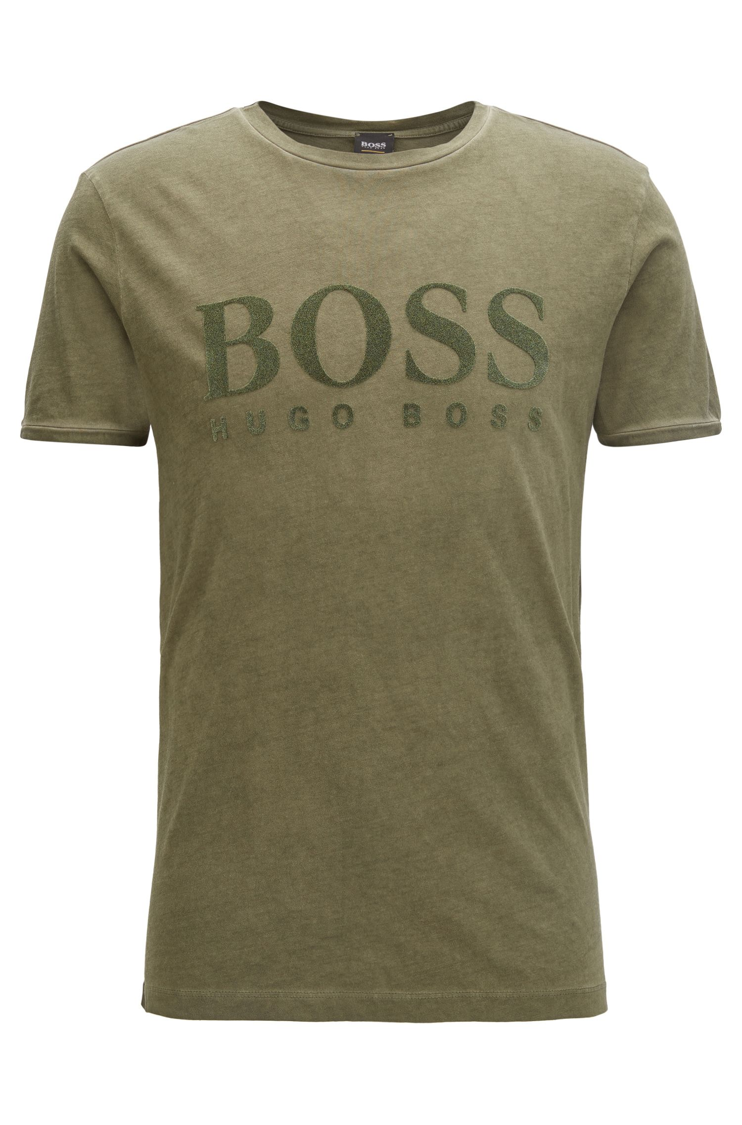 Flocked-logo T-shirt in cotton