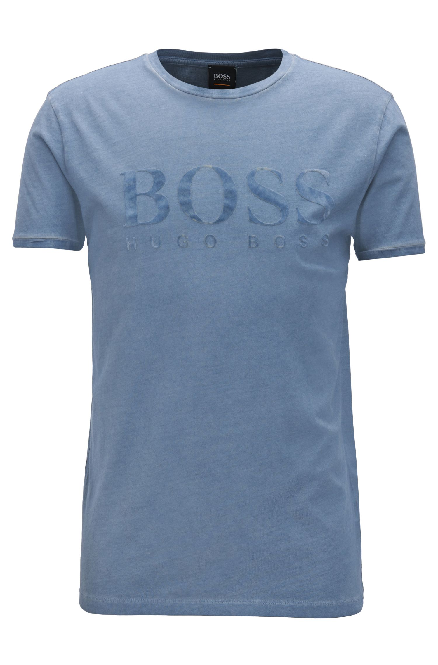 T-shirt in cotone con logo in stampa flock