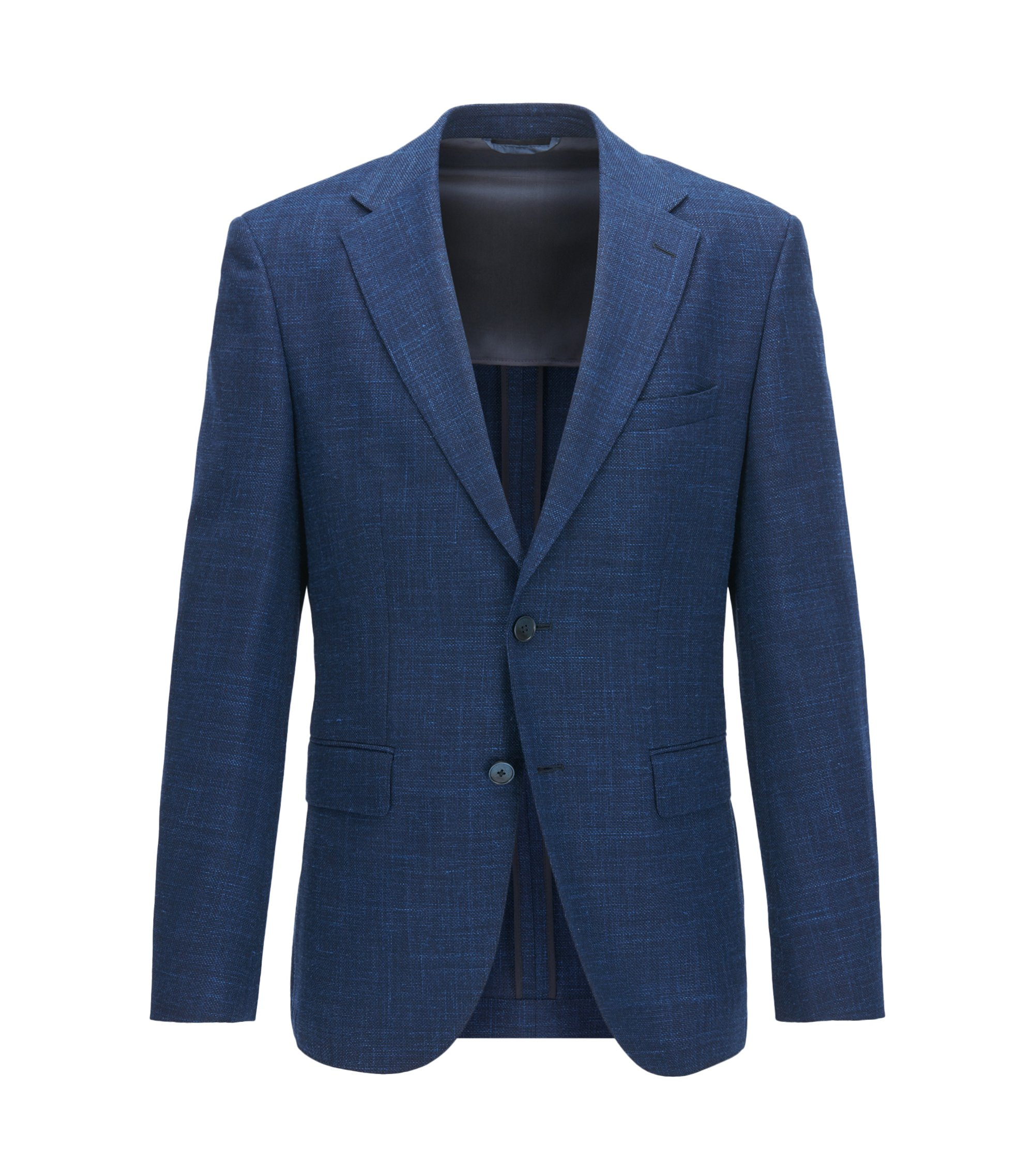 Giacca regular fit con toppe sui gomiti, Blu scuro