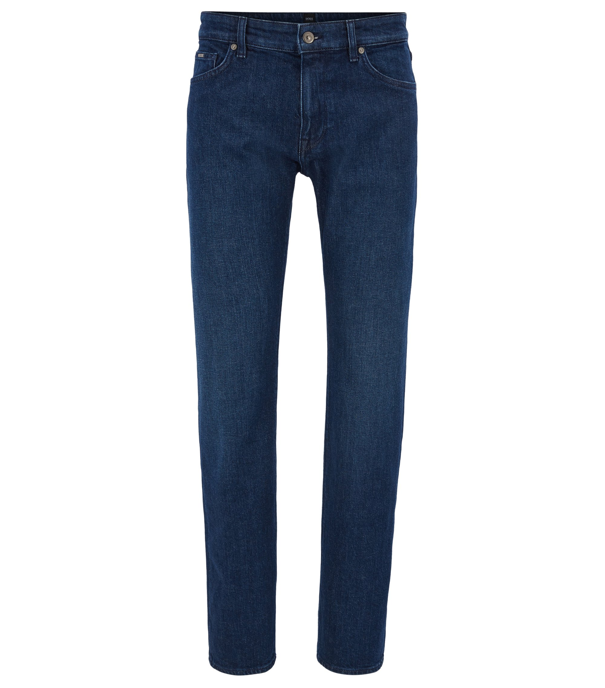 Jeans regular fit in denim elasticizzato blu scuro realizzato in Italia, Blu scuro