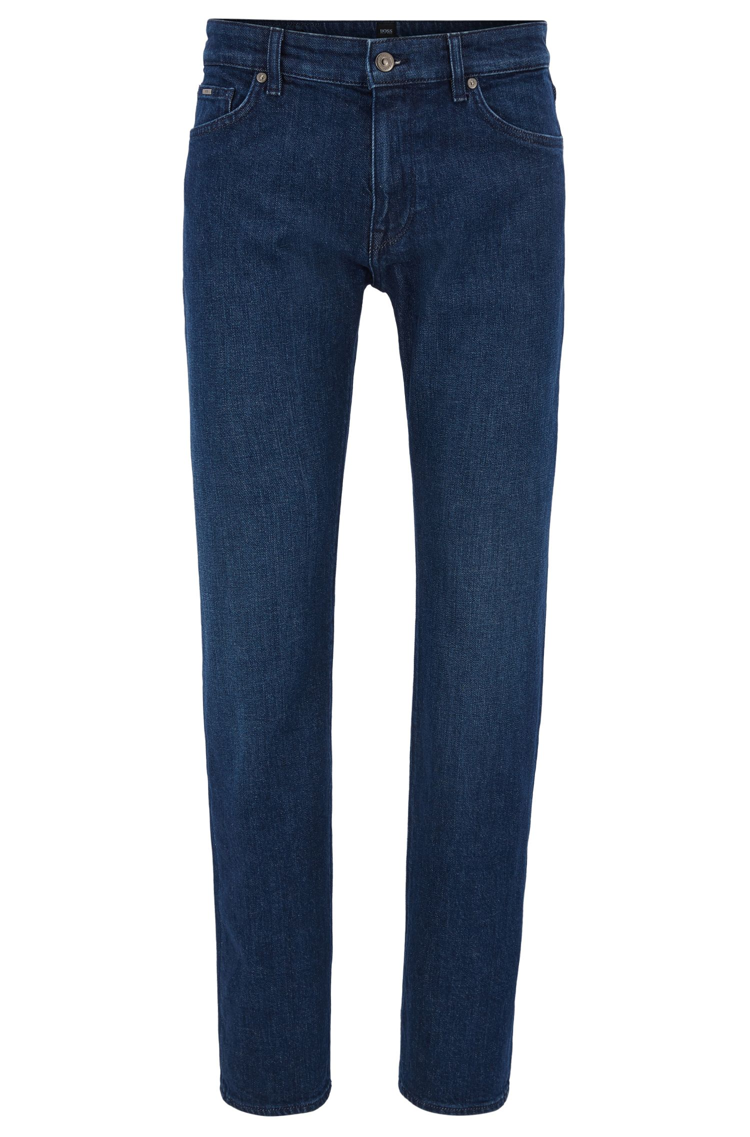 Jeans regular fit in denim elasticizzato blu scuro realizzato in Italia