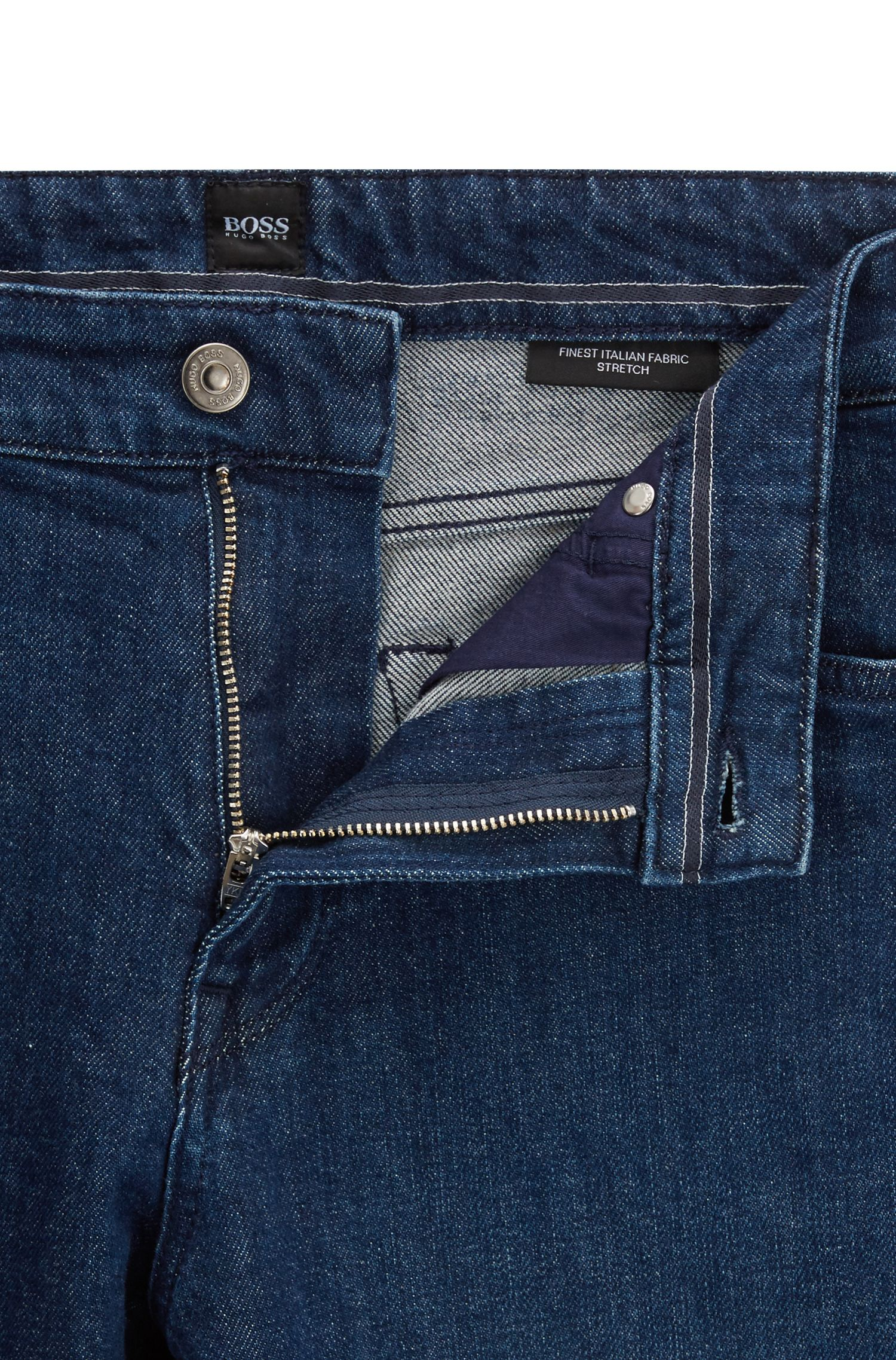 Regular-fit jeans in dark-blue Italian stretch denim