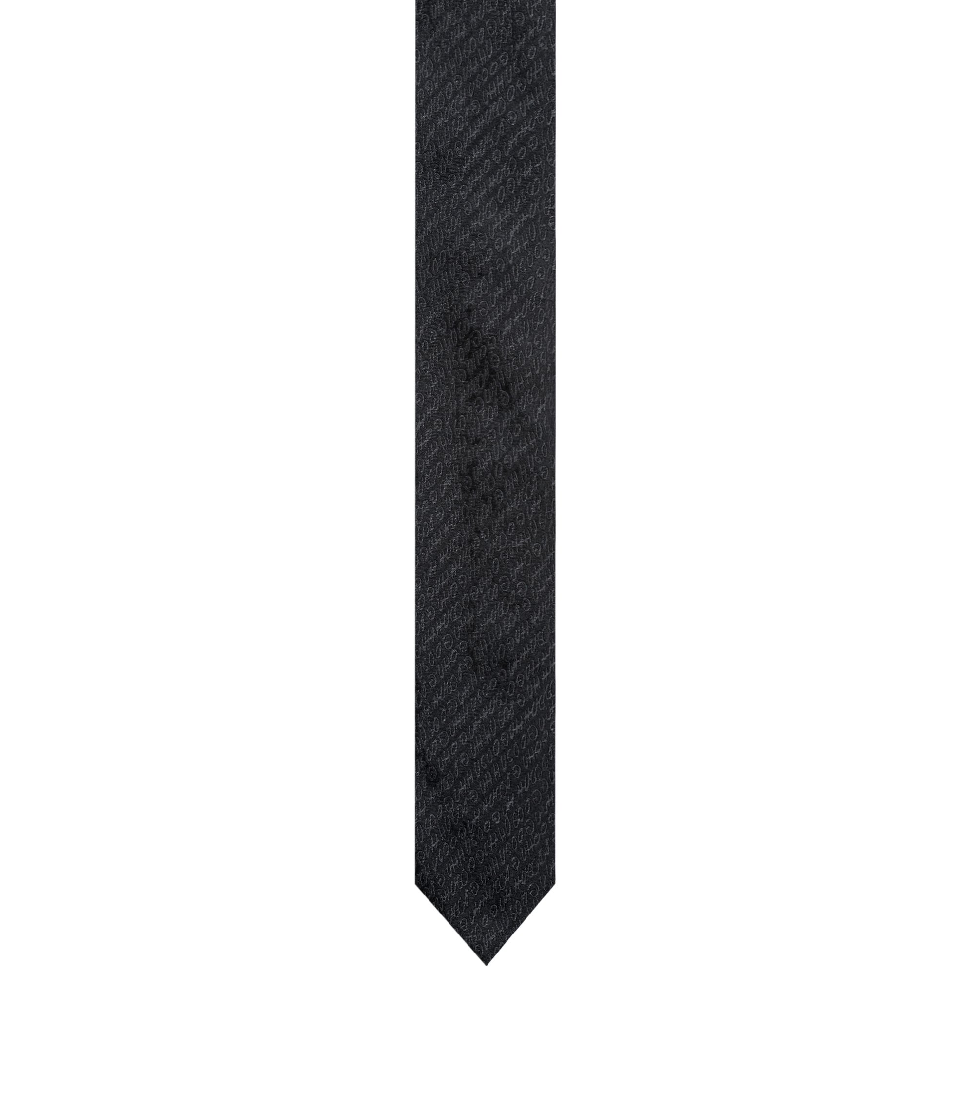 Logo-patterned tie in silk jacquard, Black