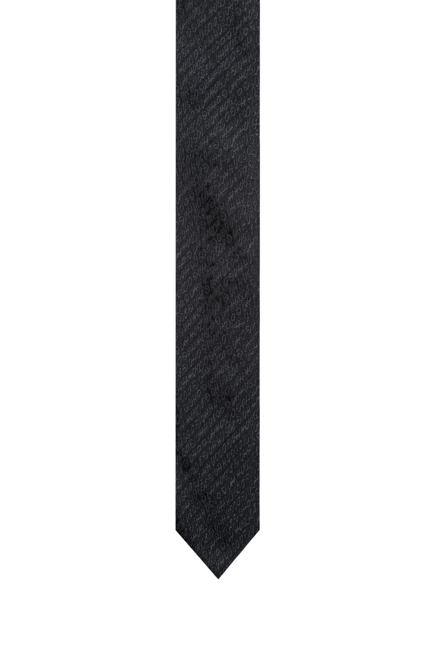Logo-patterned tie in silk jacquard