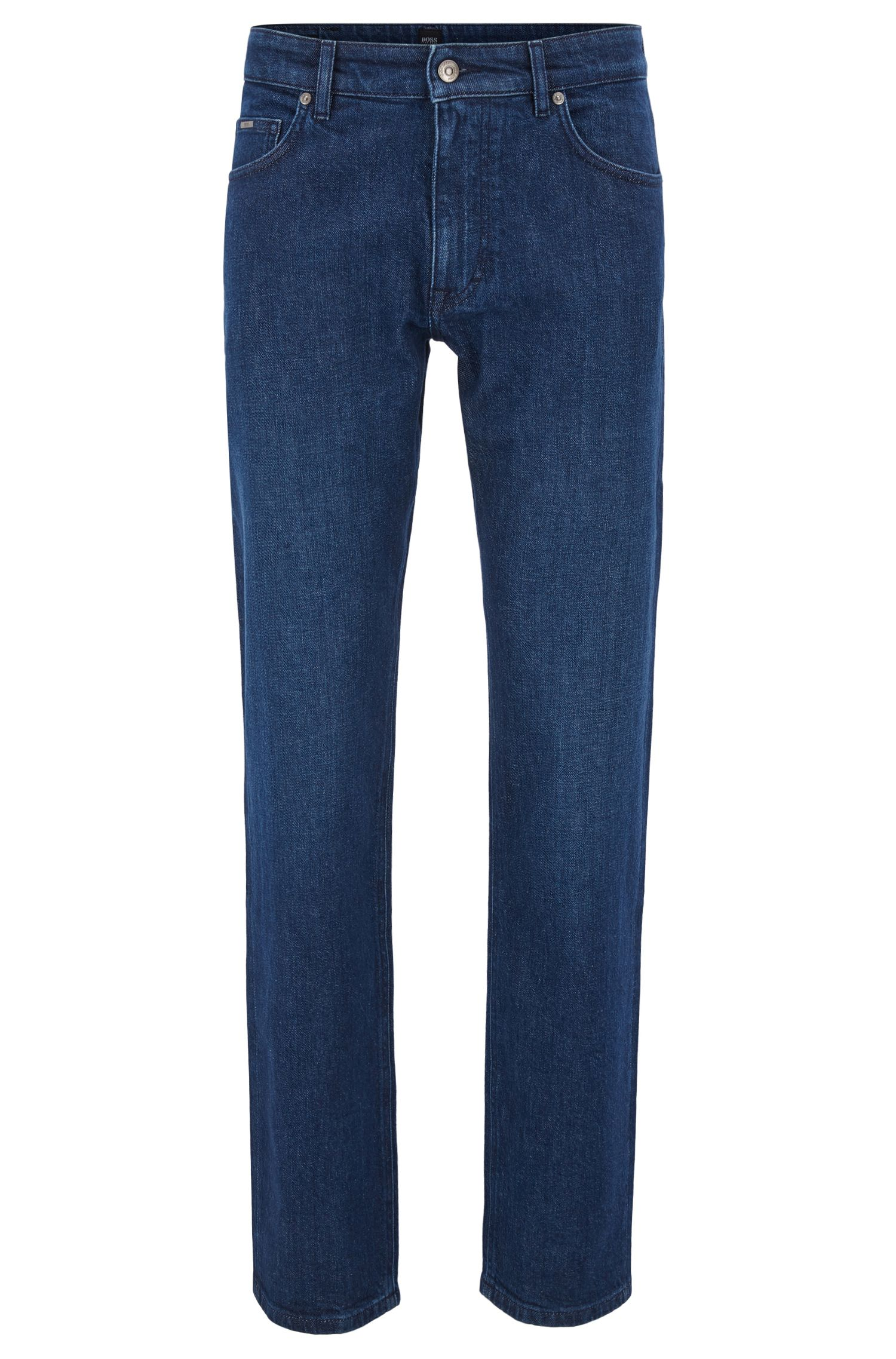 Relaxed-fit jeans van donkerblauw Italiaans denim