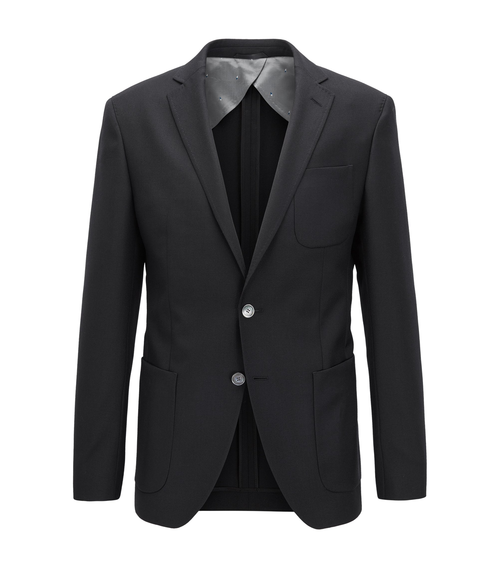 Extra-slim-fit tailored jacket in virgin wool, Black