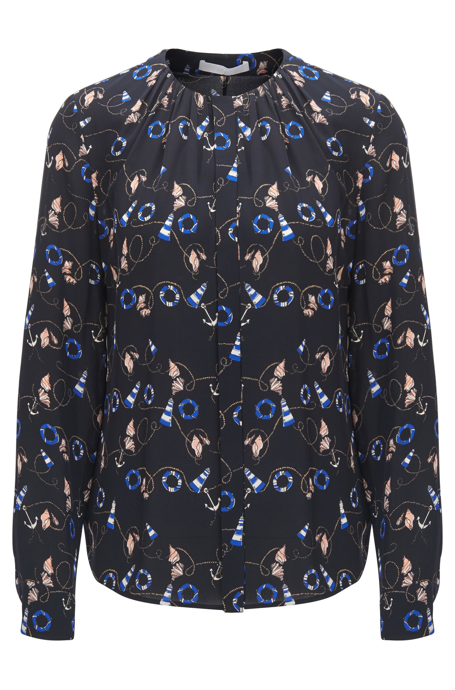 Silk nautical-print blouse with gathered neckline