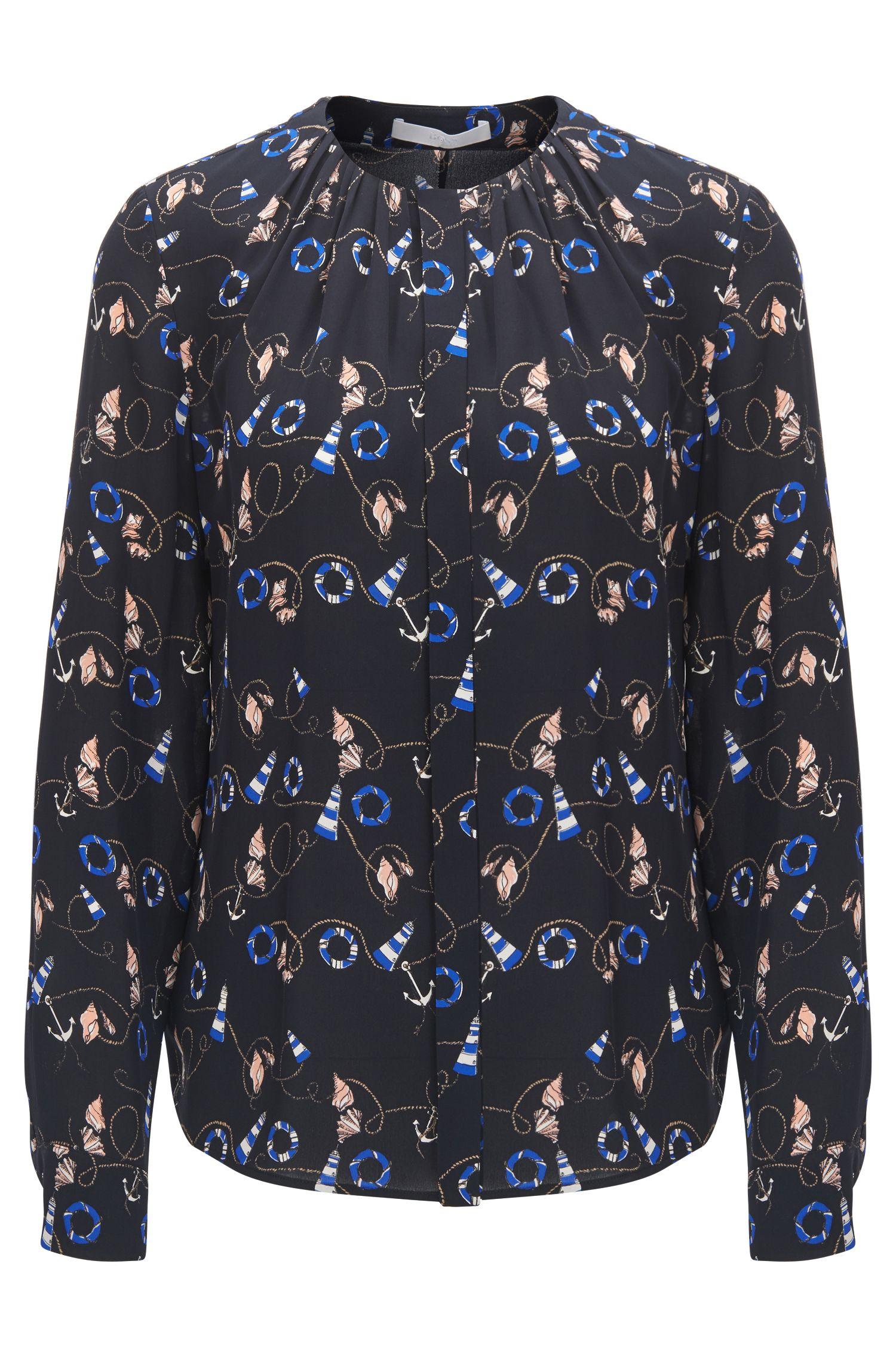 Zijden blouse met geplooide halslijn en nautische print
